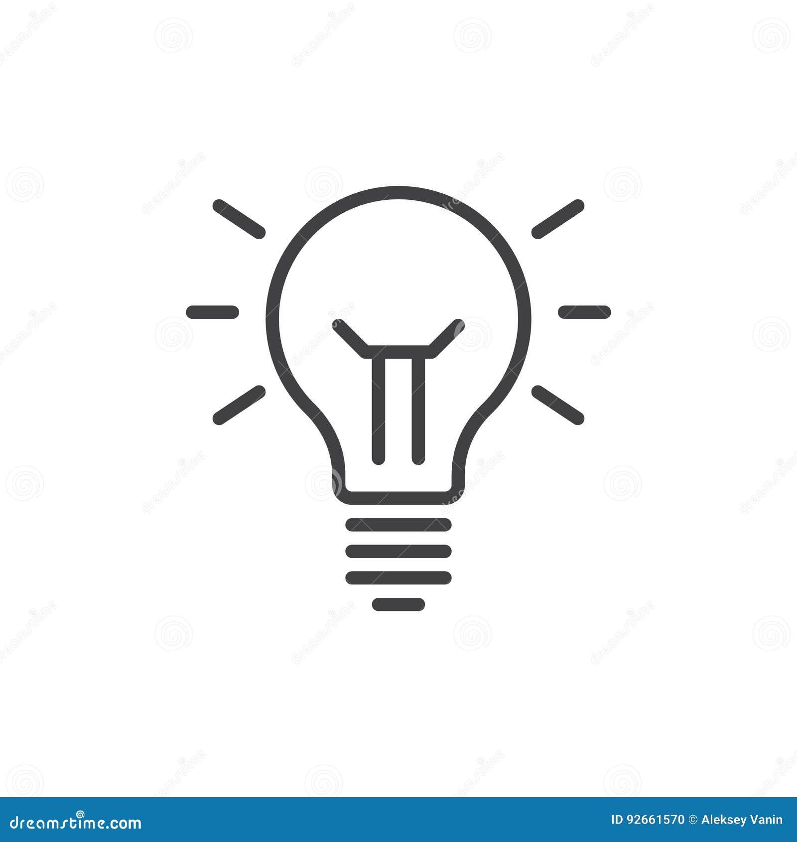 想法灯线象,概述传染媒介标志,在白色隔绝的线性样式图表 标志,商标例证 编辑可能的冲程