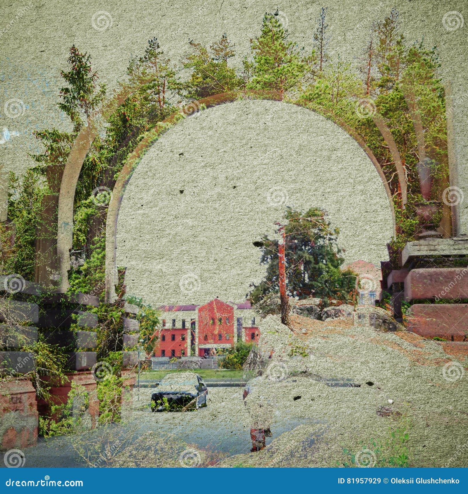 幻想生态摘要背景 与自然混合的都市风景在纸纹理