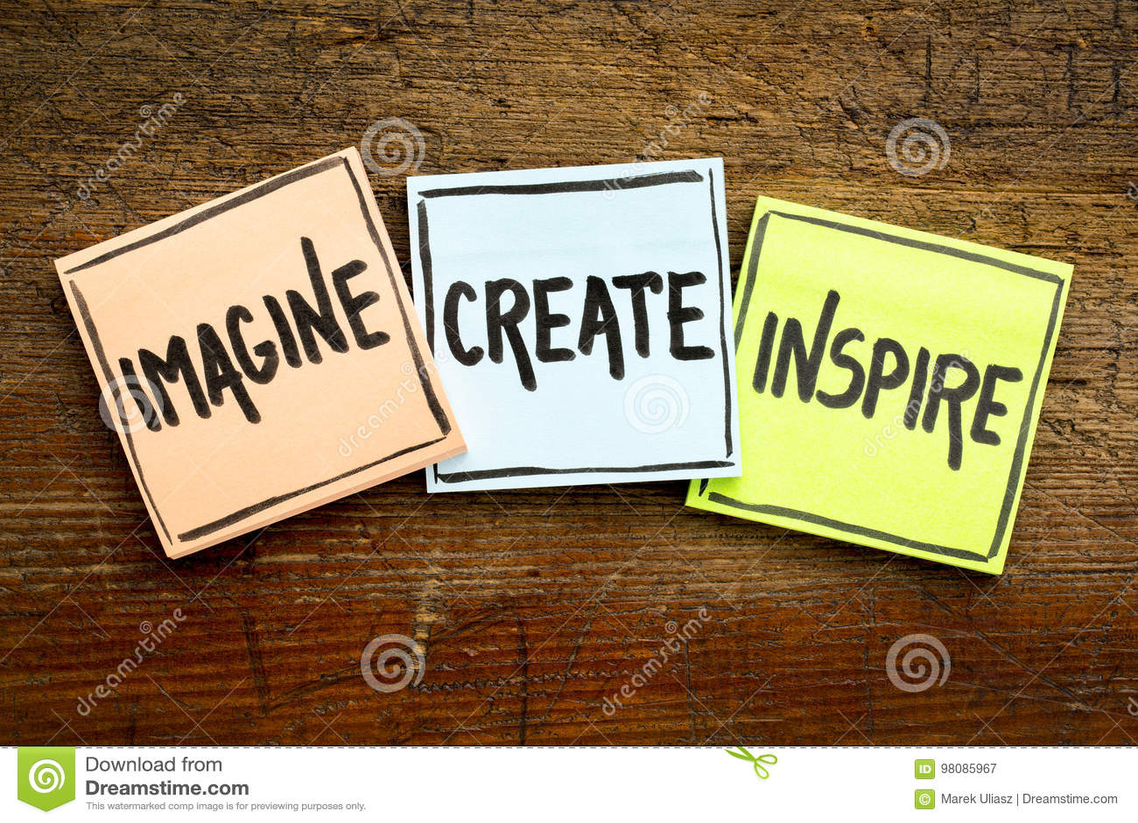 想象,创造,启发在稠粘的笔记的概念