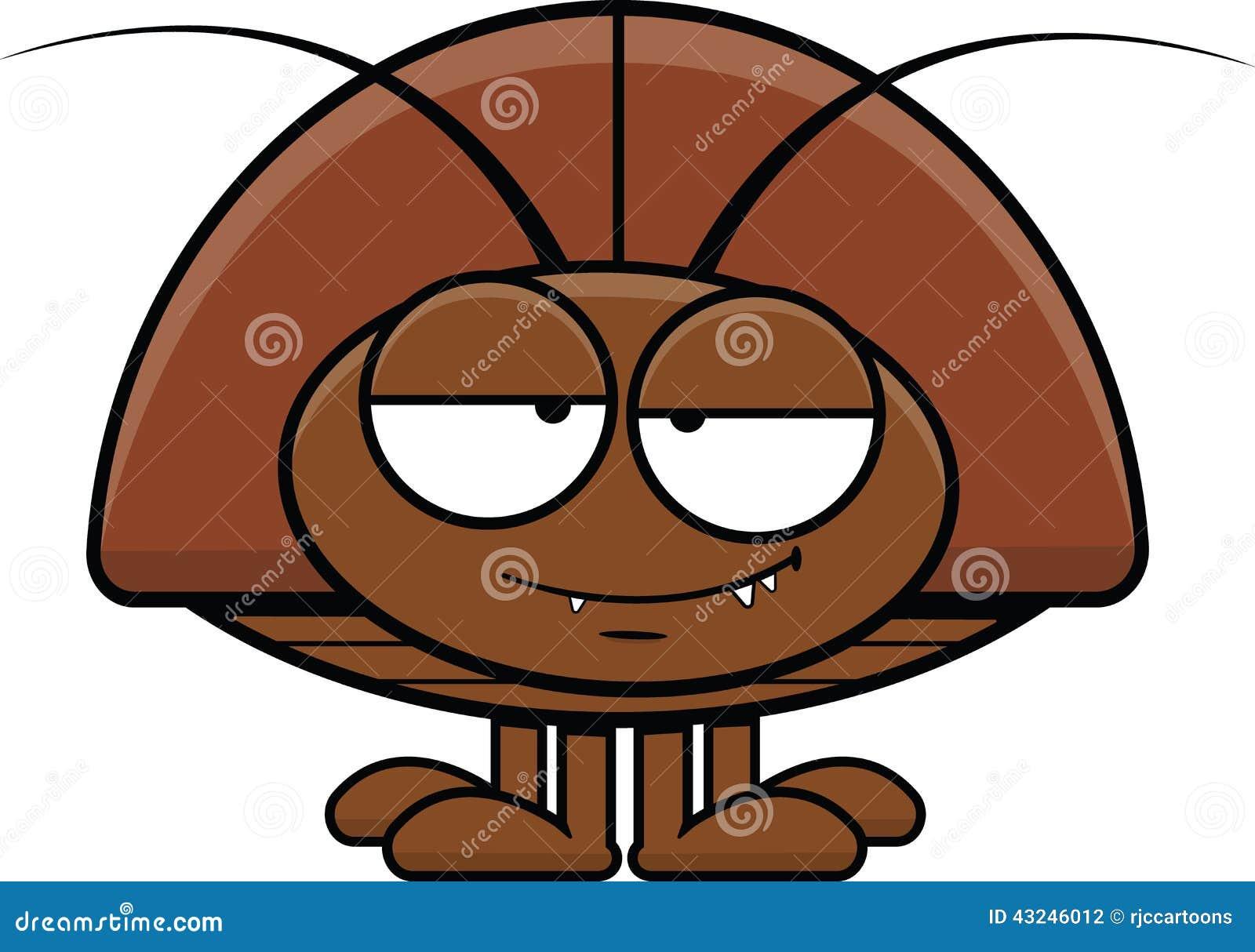 一只蟑螂的动画片例证与一个愉快的表示的.图片