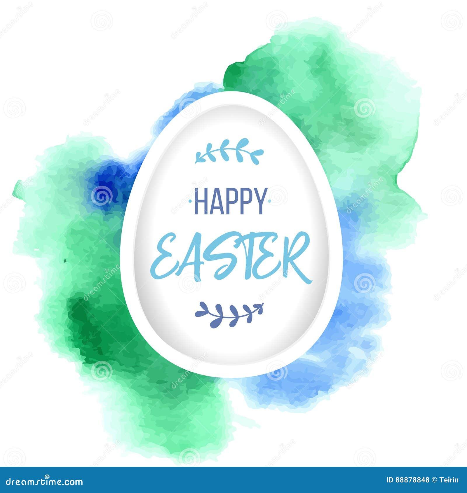 愉快复活节的问候 与字法的纸鸡蛋在五颜六色的水彩背景 纸艺术元素假日问候