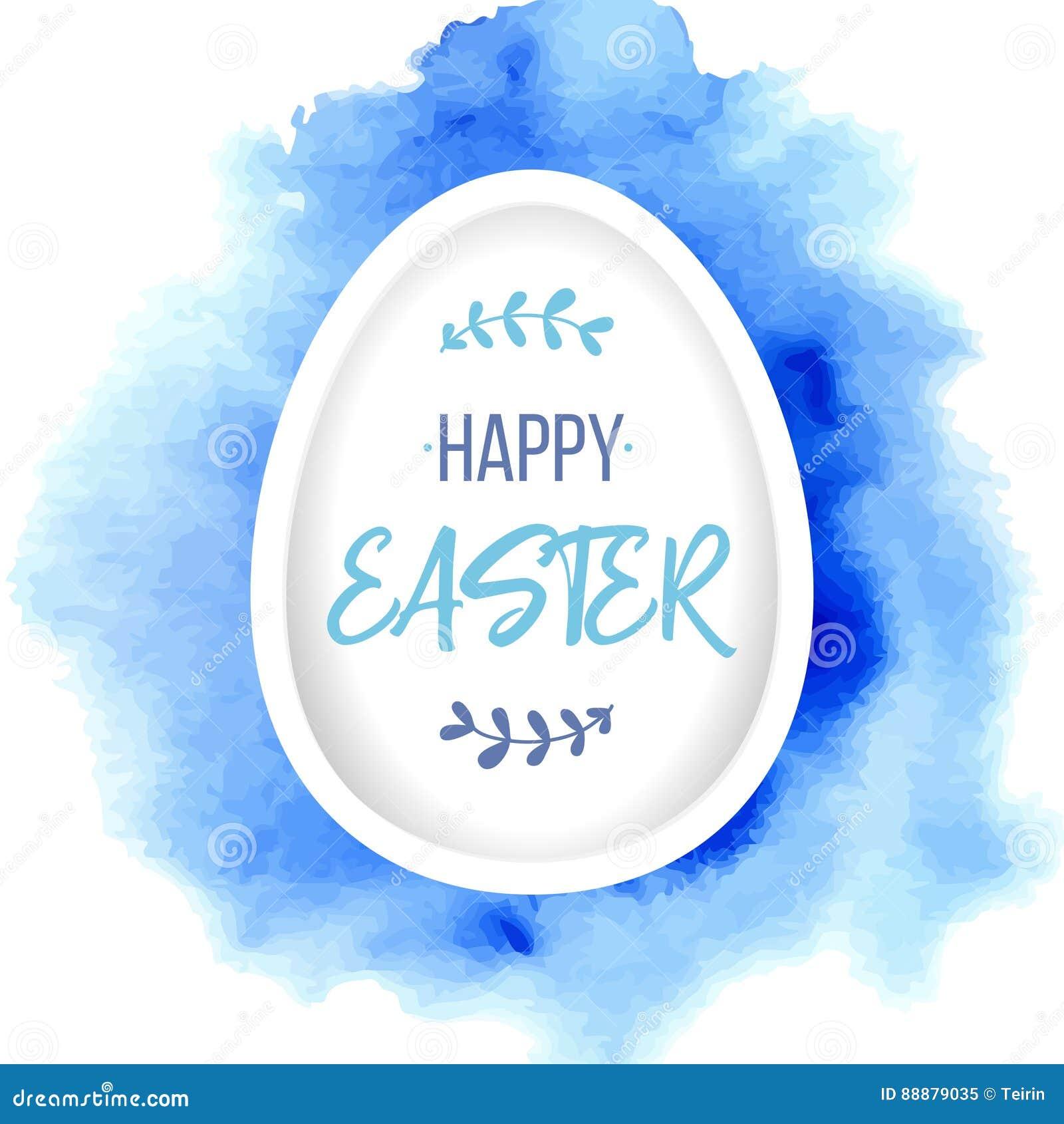 愉快复活节的问候 与字法的纸鸡蛋在蓝色水彩背景 纸艺术元素假日问候