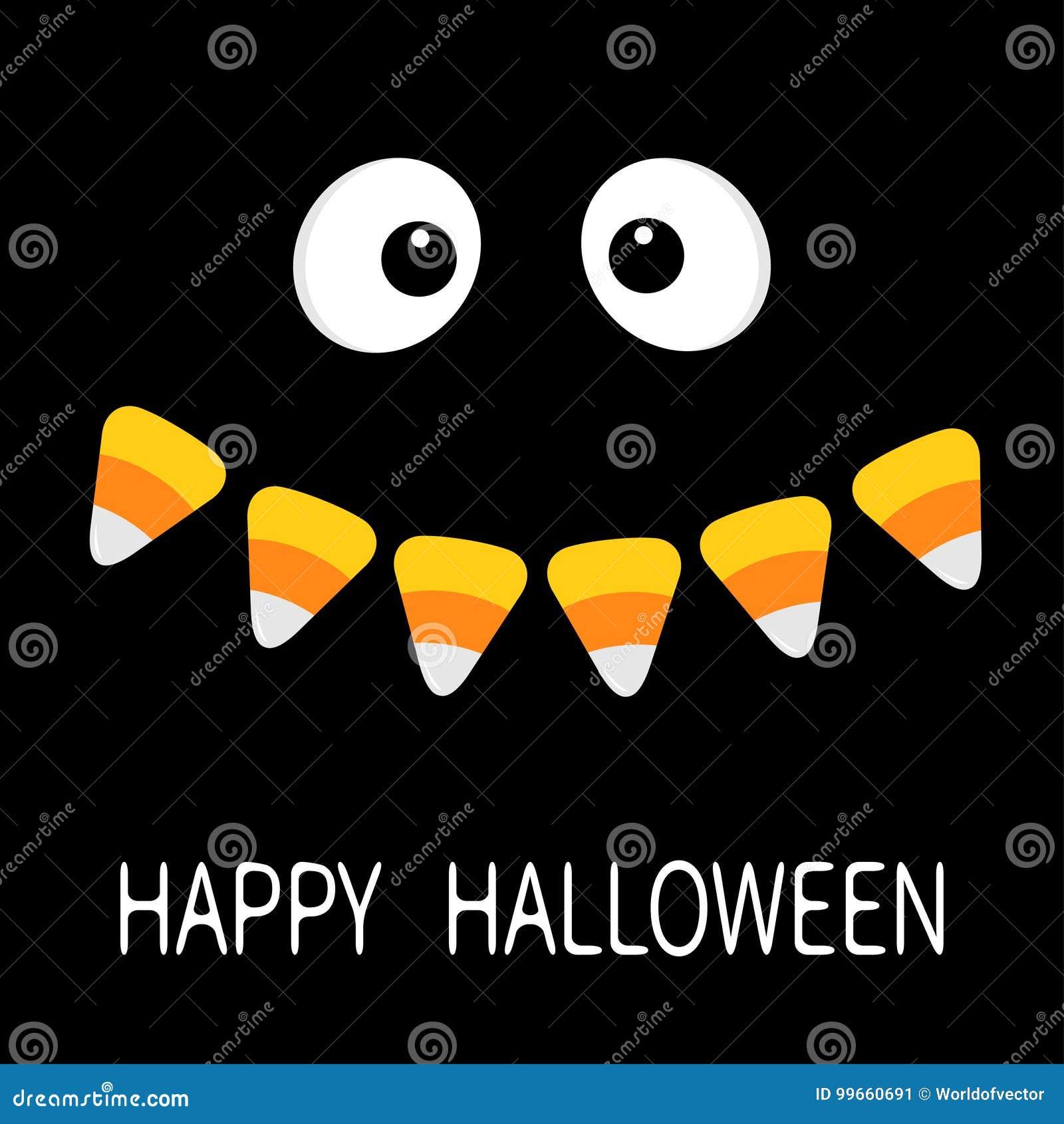 愉快的万圣节 可怕面孔微笑的情感 大眼睛,嘴糖味玉米微笑吸血鬼牙犬齿 婴孩看板卡eps10问候例证向量 平的设计