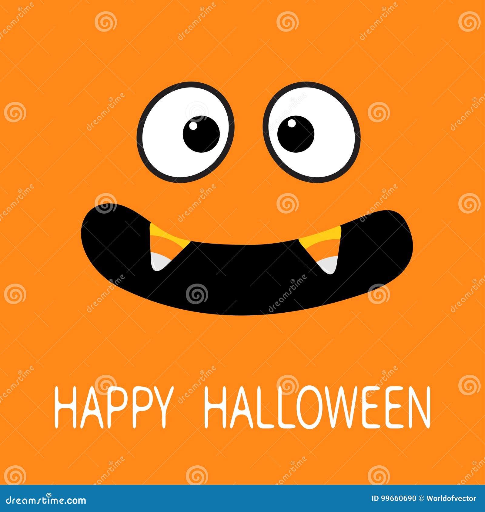 愉快的万圣节 可怕面孔情感 大眼睛,与糖味玉米吸血鬼牙犬齿的嘴 婴孩看板卡eps10问候例证向量 平的设计样式