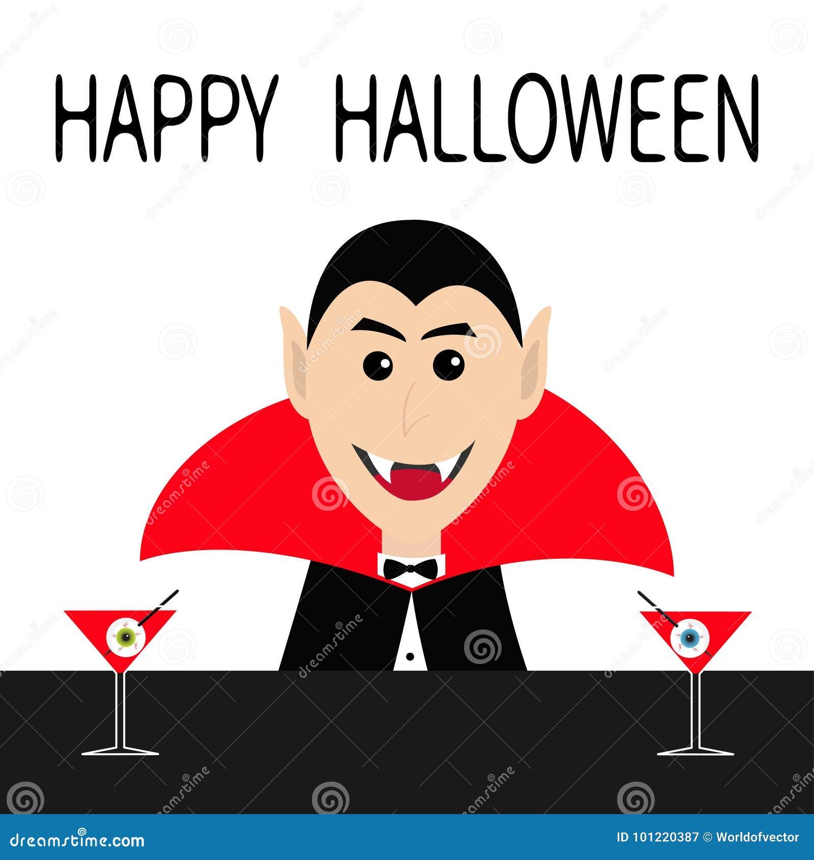 愉快的万圣节 计数佩带黑和红色海角的德雷库拉顶头面孔 逗人喜爱的动画片微笑的吸血鬼字符犬齿 酒吧逆3月