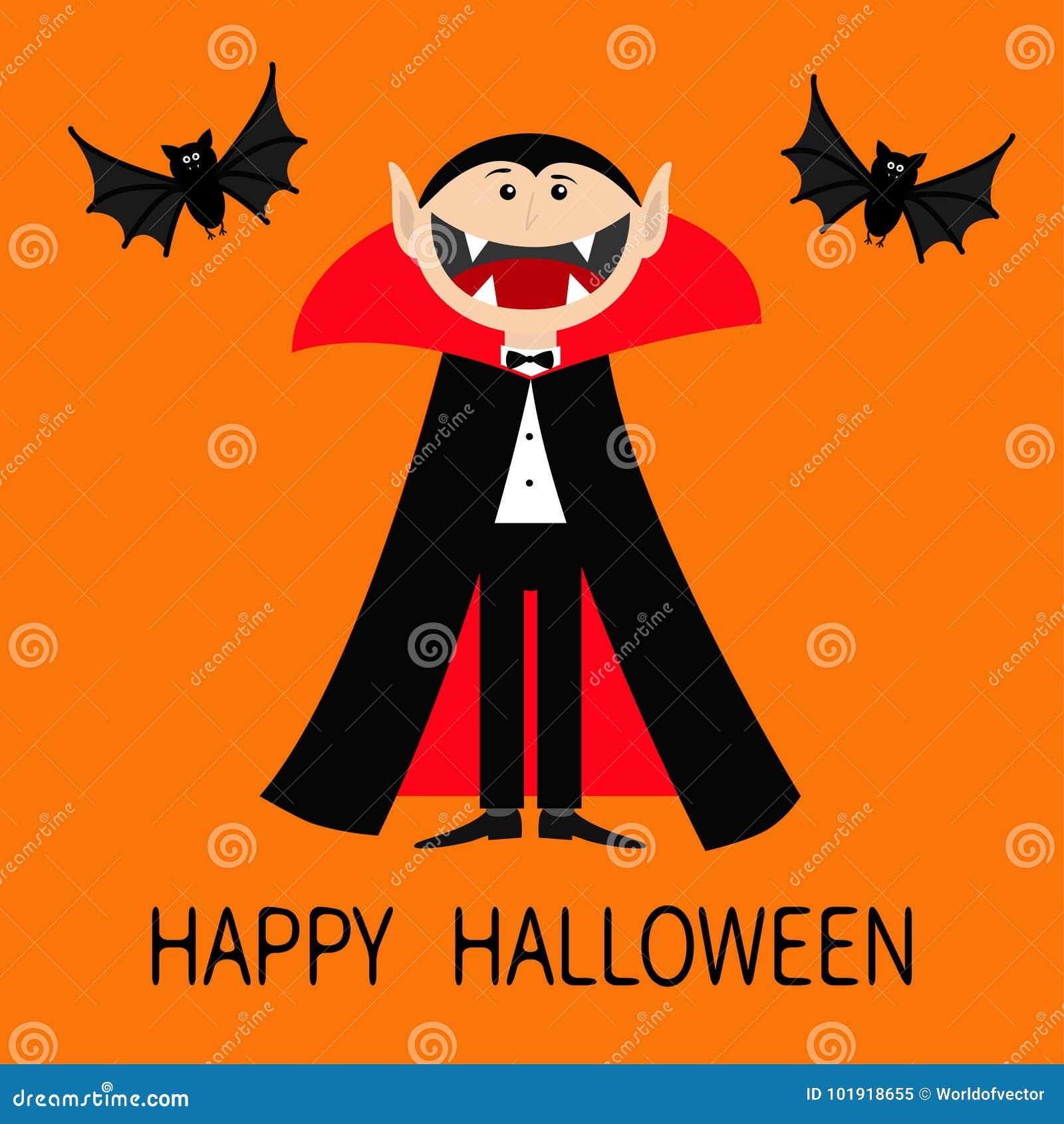 愉快的万圣节 计数佩带黑和红色海角的德雷库拉 与大开放嘴、舌头和犬齿的逗人喜爱的动画片吸血鬼字符 T