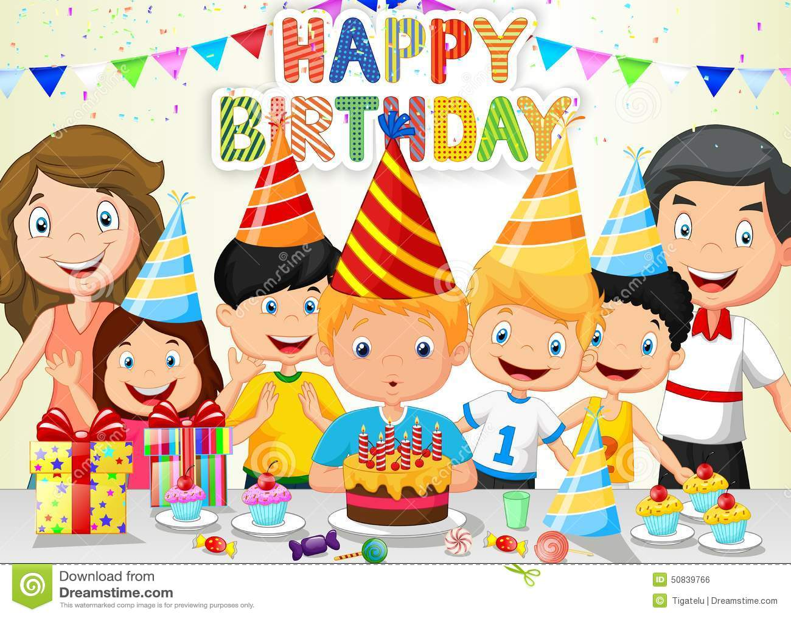 愉快的与他的家庭和朋友的男孩动画片吹的生日蜡烛 向量例证 插画 包括有 五彩纸屑 朋友 男朋友 点心