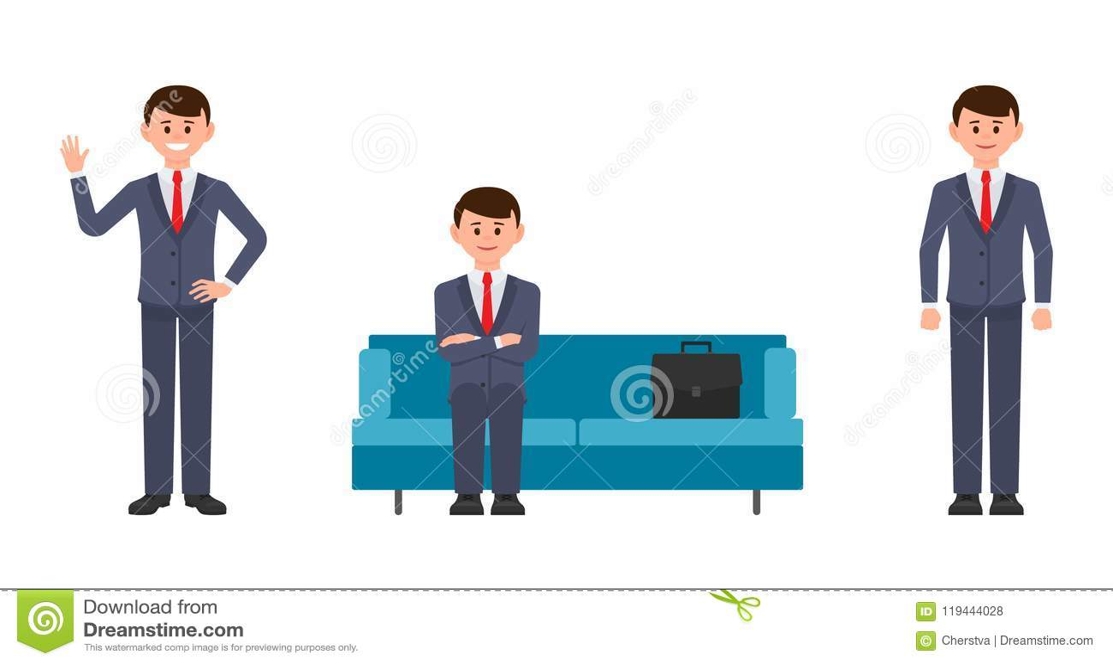 愉快的人坐蓝色沙发用横渡的手,挥动和微笑 漫画人物商人的传染媒介例证