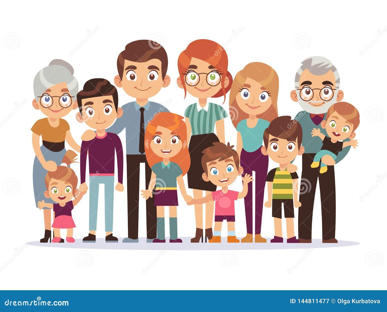 大家庭画象 愉快的人字符生活方式母亲父亲儿童祖父母少年孩子狗,传染媒介