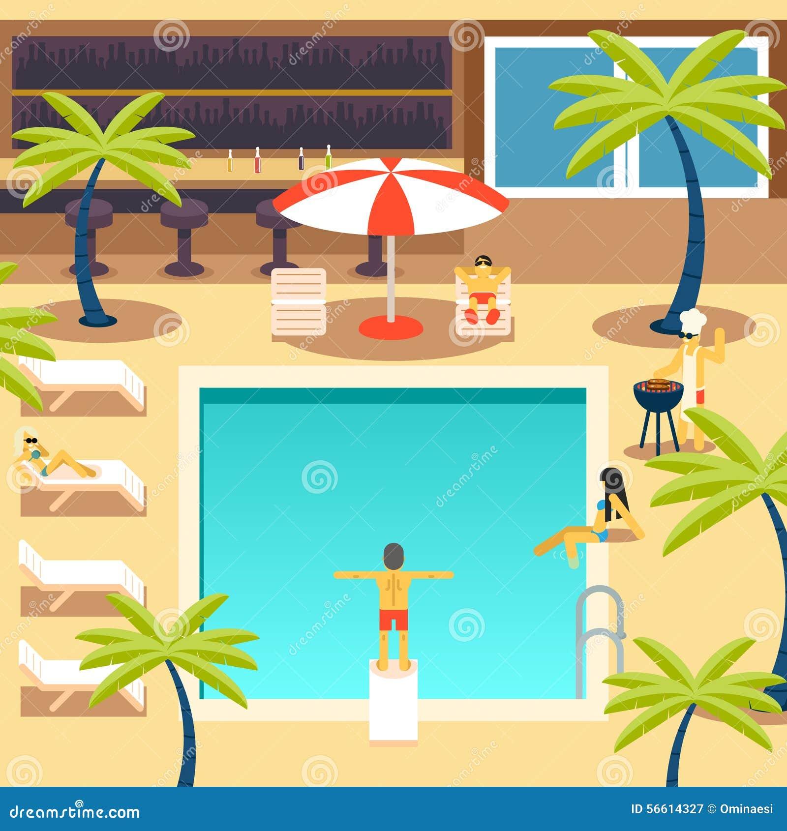 愉快的人民晴朗的水池旅馆暑假