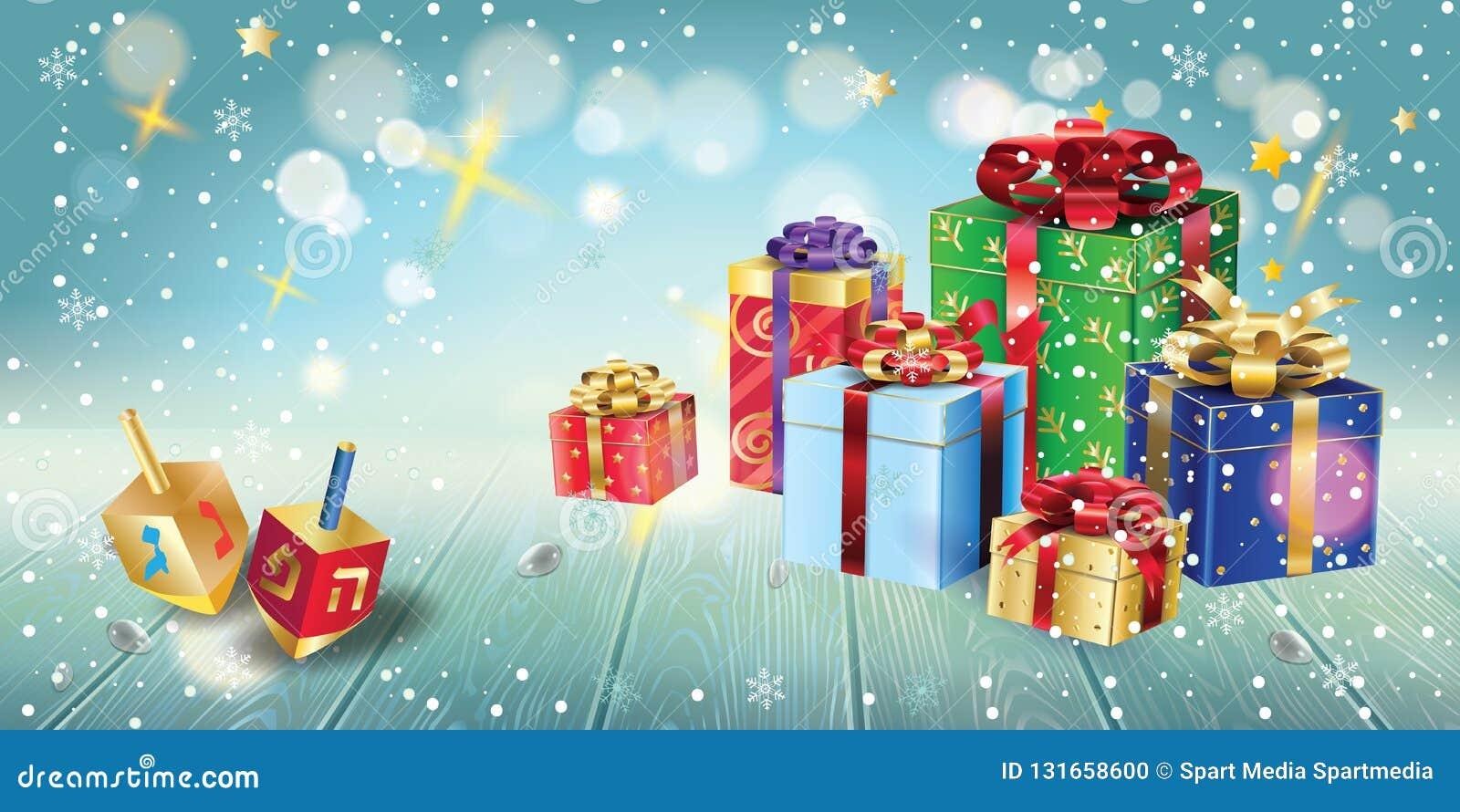 愉快的光明节金子犹太教灯台,礼物和礼物,木dreidel