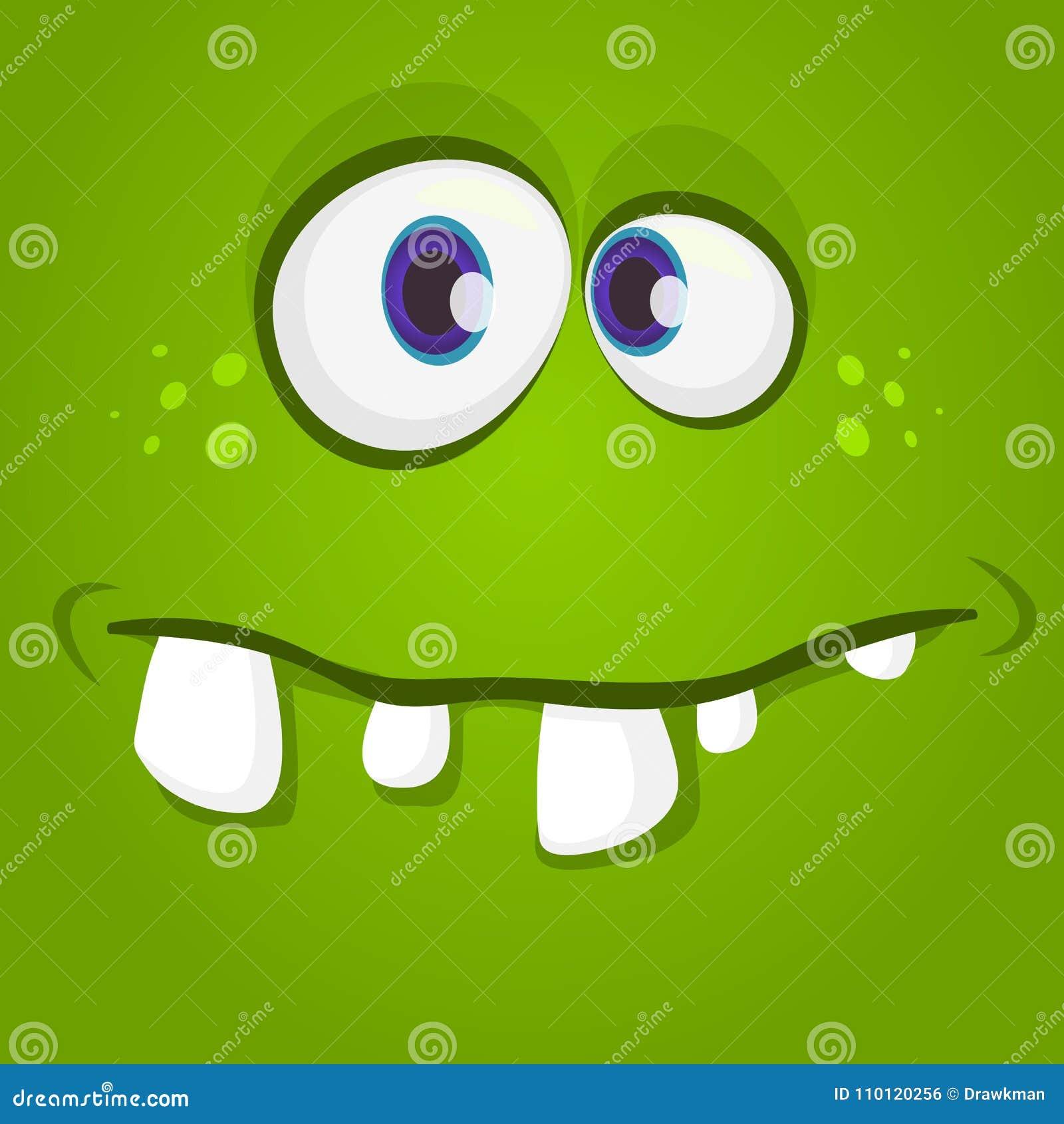 愉快的凉快的动画片妖怪面孔 传染媒介万圣夜绿色蛇神或妖怪字符