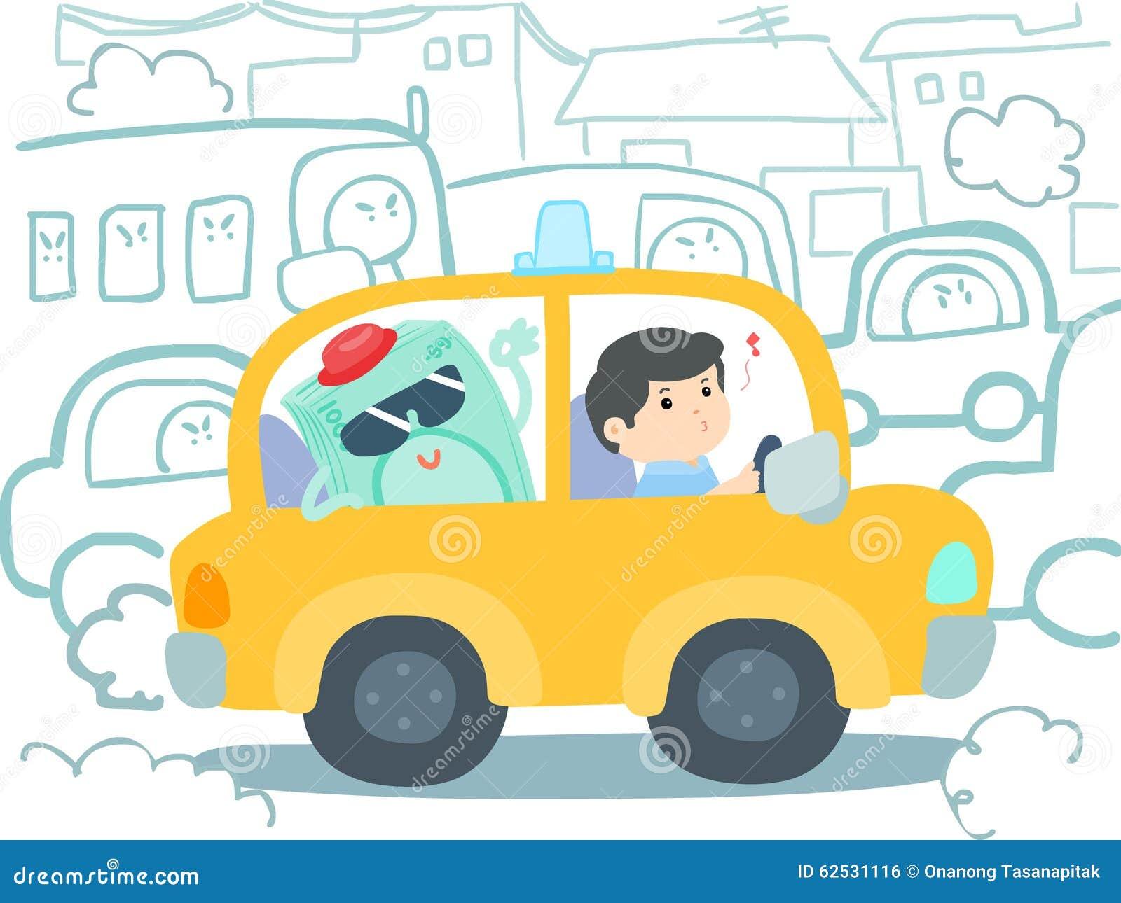 愉快的出租汽车司机获得在汽车的金钱交通堵塞