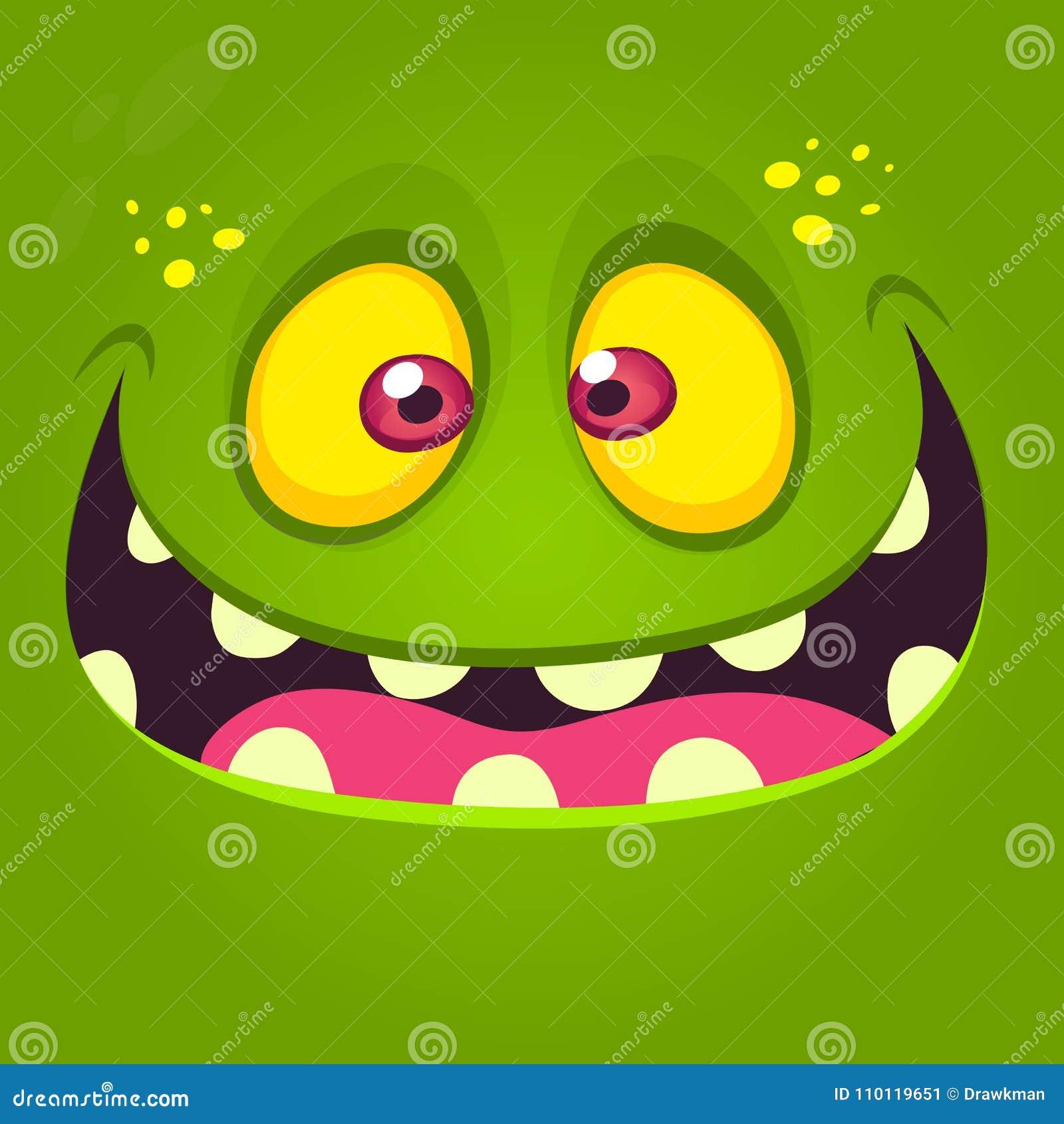 愉快的动画片妖怪面孔 导航绿色激动的妖怪或蛇神的万圣夜例证