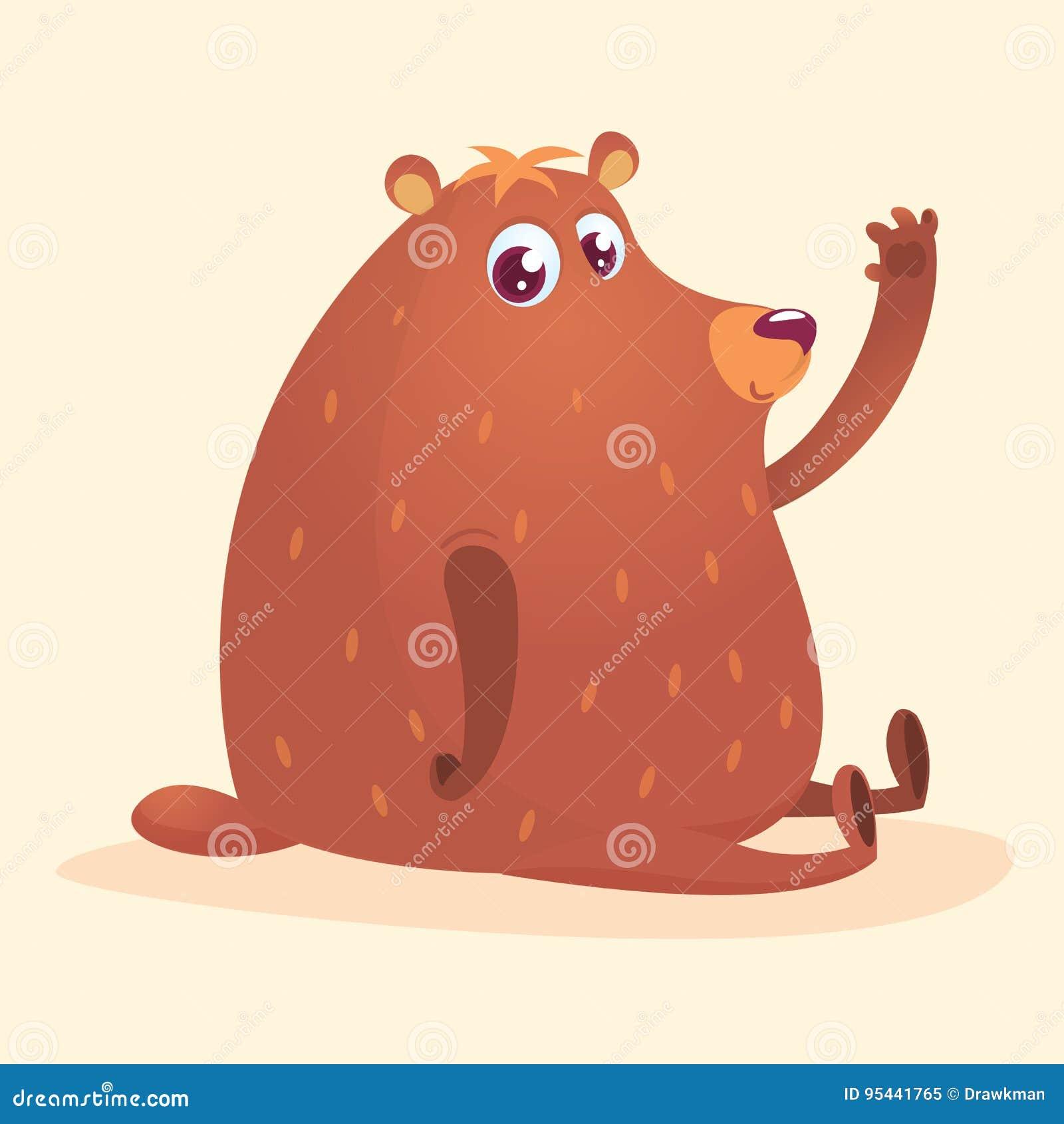 愉快的动画片棕熊 狂放的森林动物收藏 婴孩教育 查出 奶油被装载的饼干 传染媒介illustrati