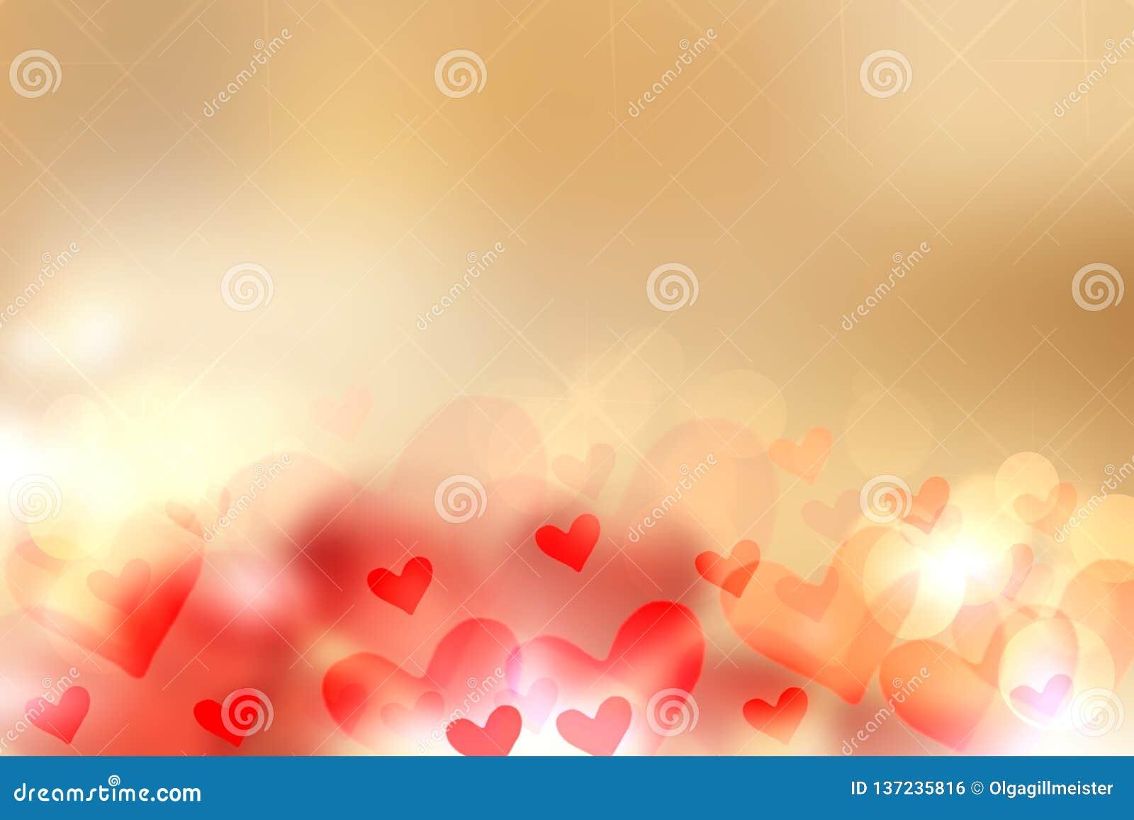 愉快的华伦泰或婚礼那天背景 与红色和金黄心脏的摘要爱浪漫假日金黄背景 模板