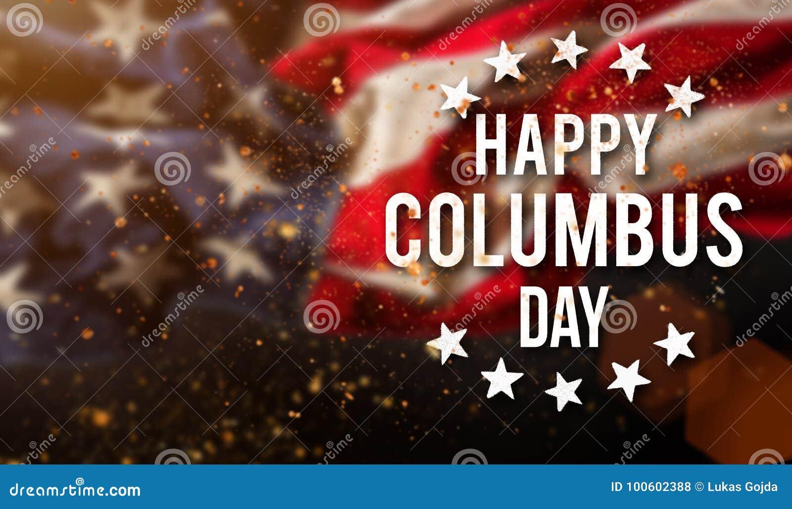 愉快的哥伦布日横幅,爱国背景