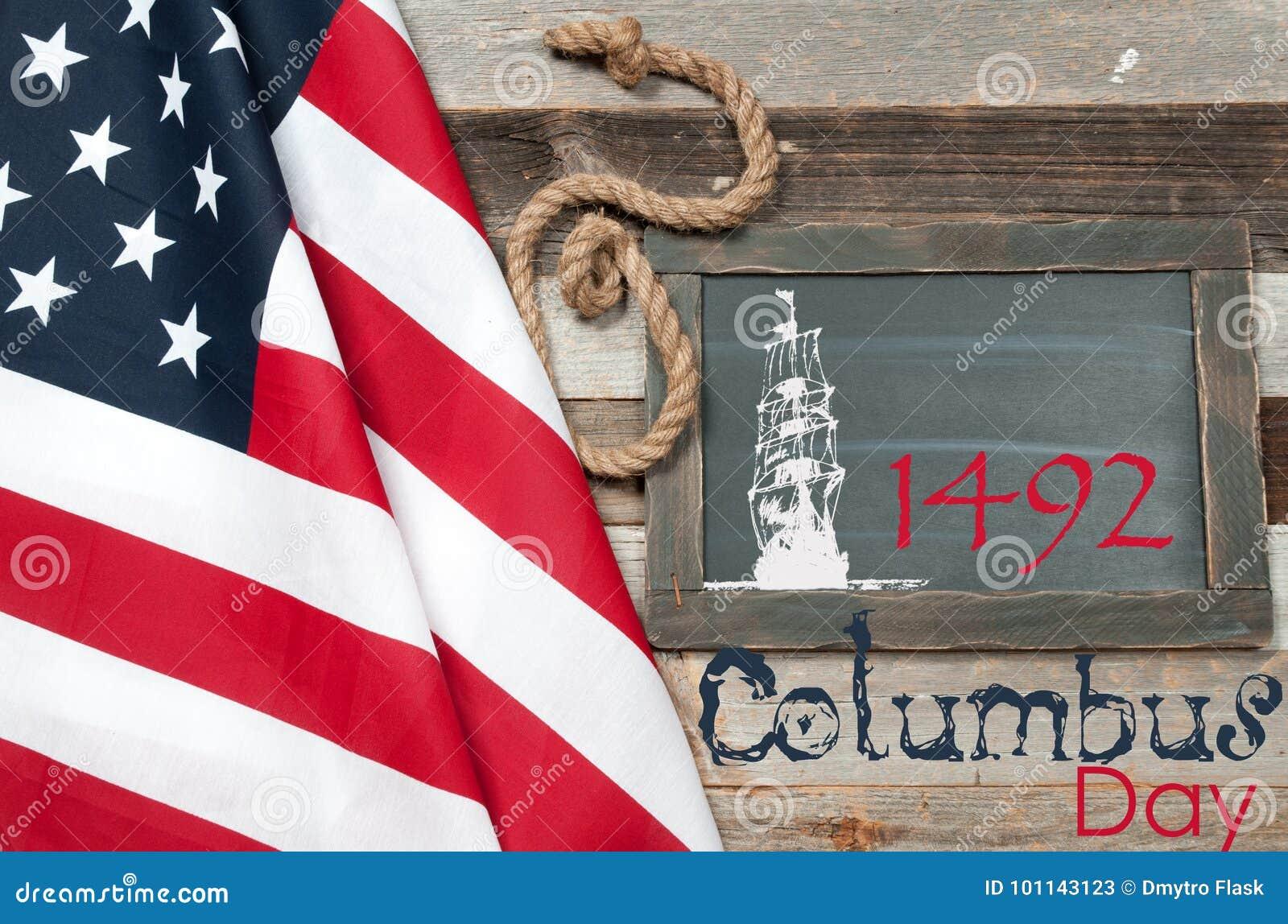 愉快的哥伦布日 团结的标记状态
