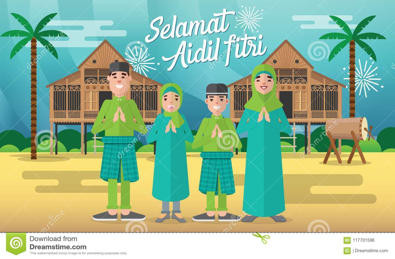 愉快的回教家庭为与与传统马来的村庄房子/Kampung的aidil fitri在背景庆祝并且打鼓