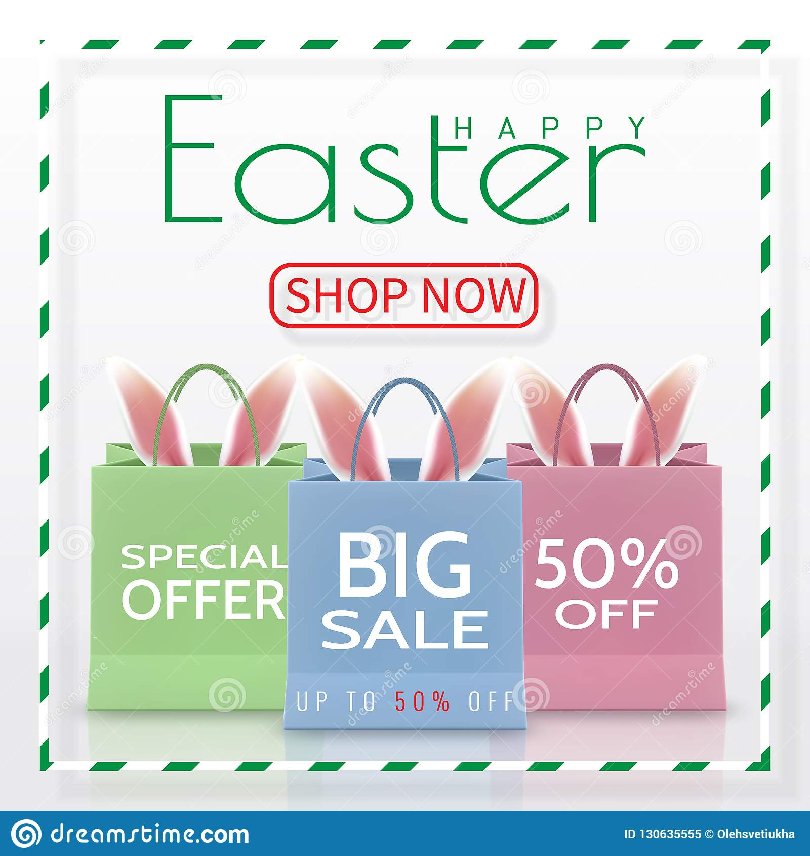 愉快的复活节销售 与在白色背景隔绝的把柄的现实纸购物袋 也corel凹道例证向量