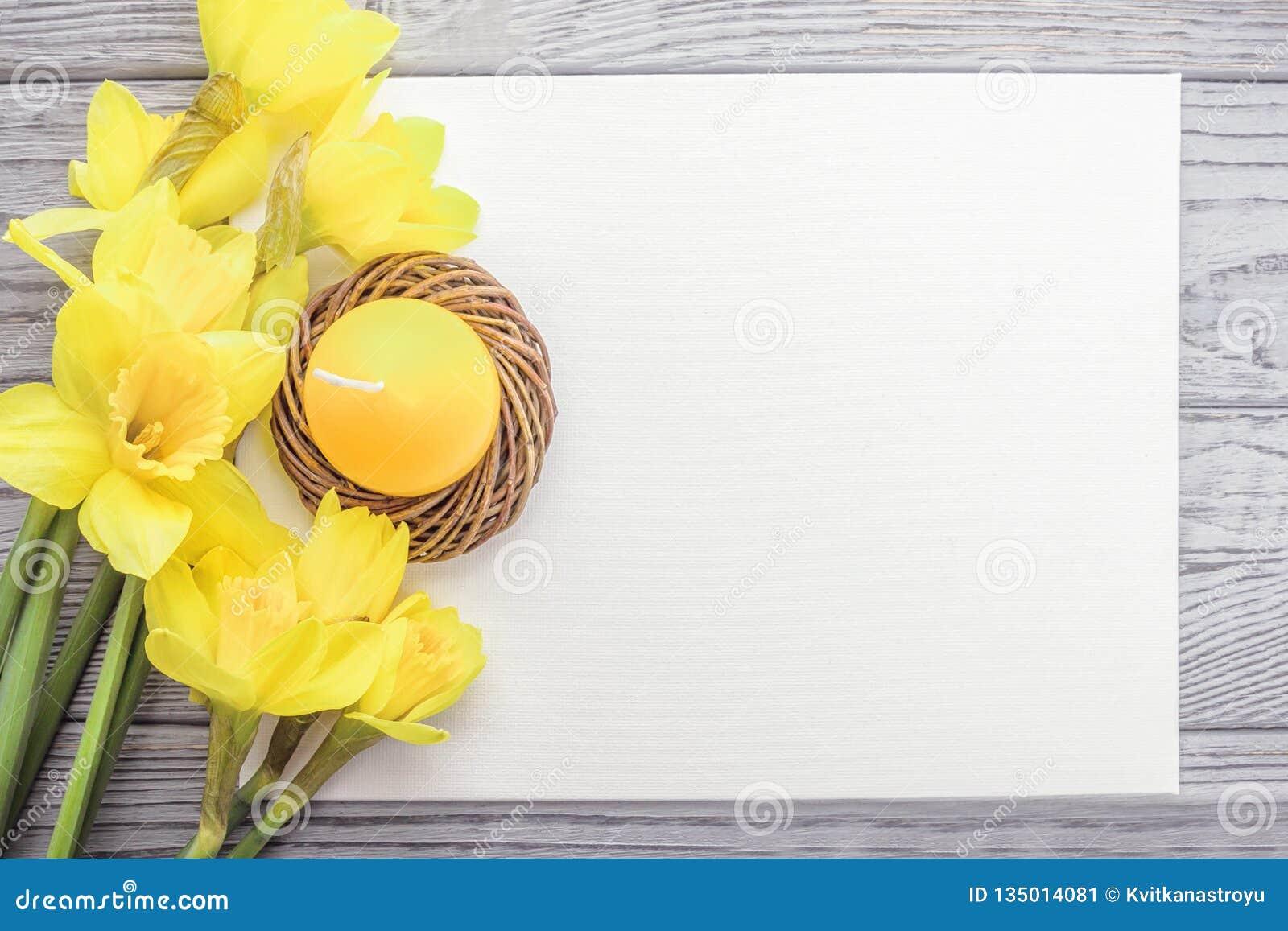 愉快的复活节 复活节蜡烛鸡蛋和黄水仙在灰色背景 复制空间,顶视图