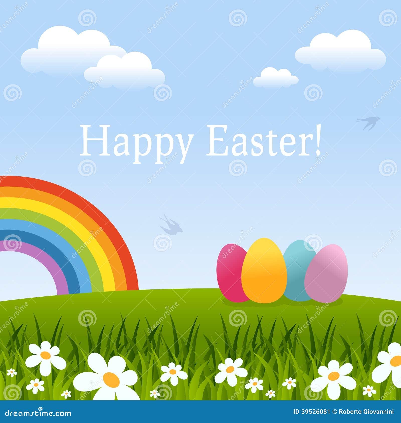 愉快的复活节卡片用鸡蛋&彩虹