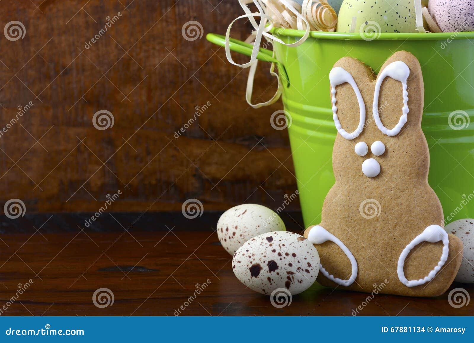 愉快的复活节姜饼曲奇饼兔宝宝