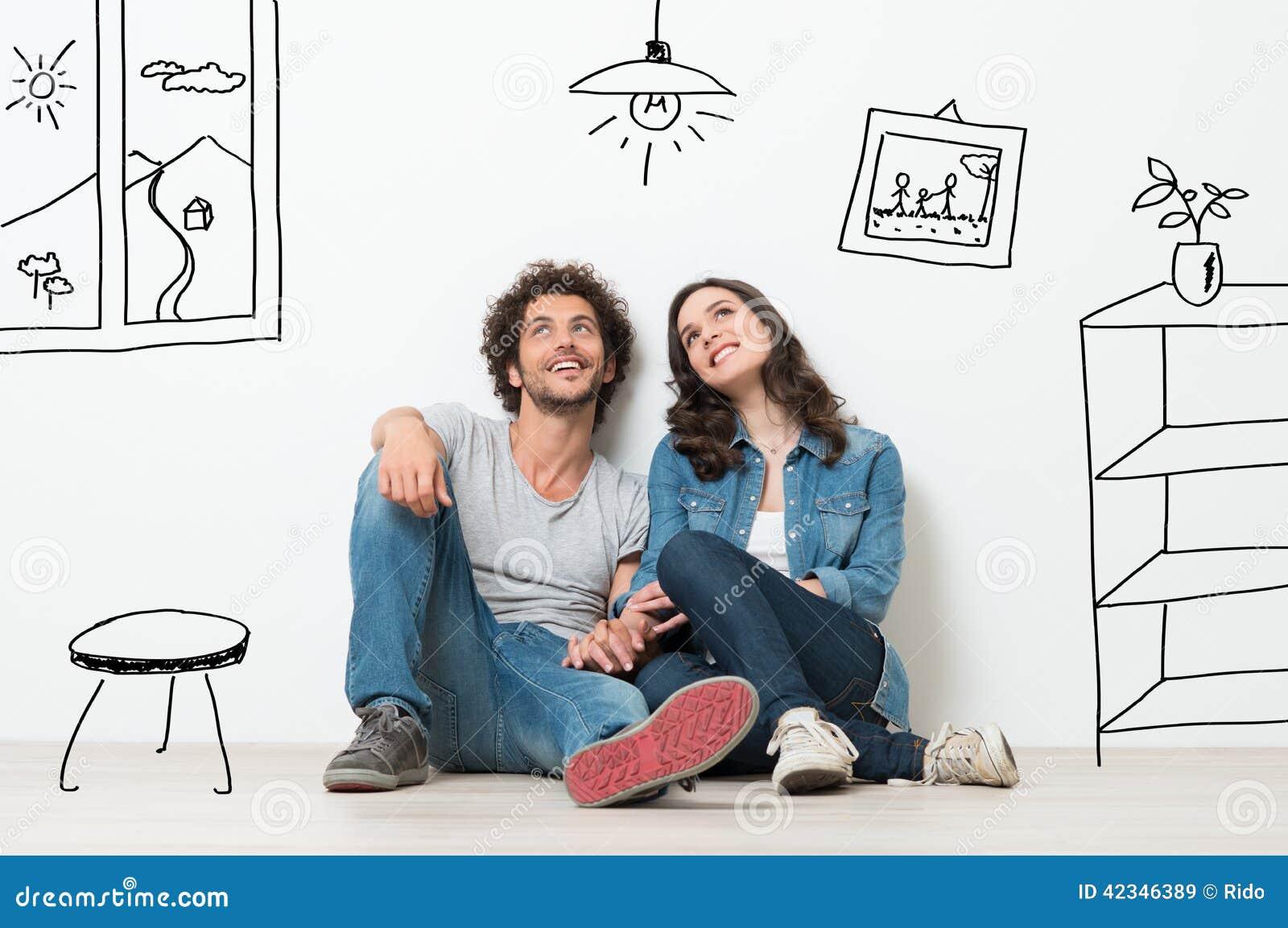 愉快的夫妇梦想新的家