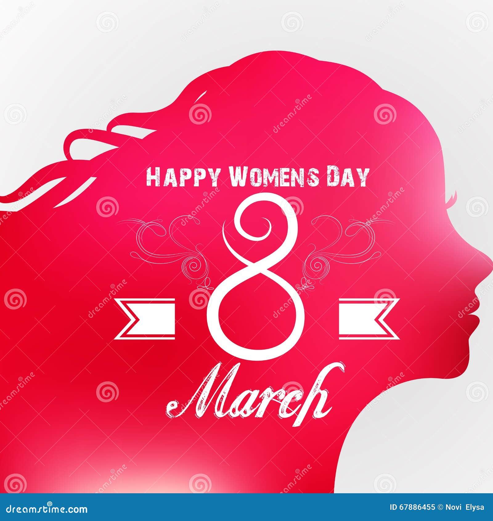 愉快的妇女的天与女性面孔的贺卡