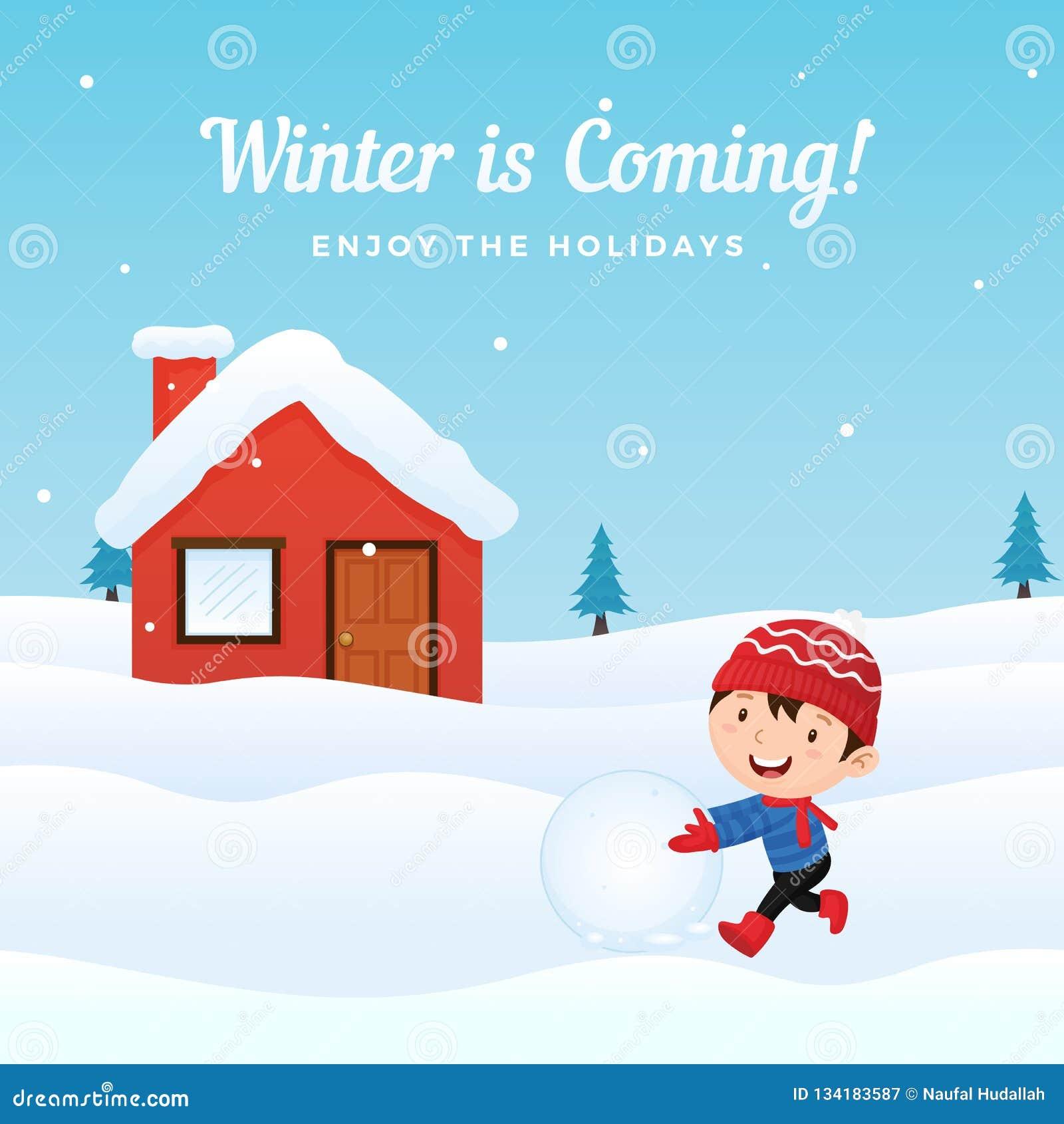 愉快的孩子喜欢演奏做雪人的雪球在前边多雪的房子冬天季节传染媒介背景例证的 节假日