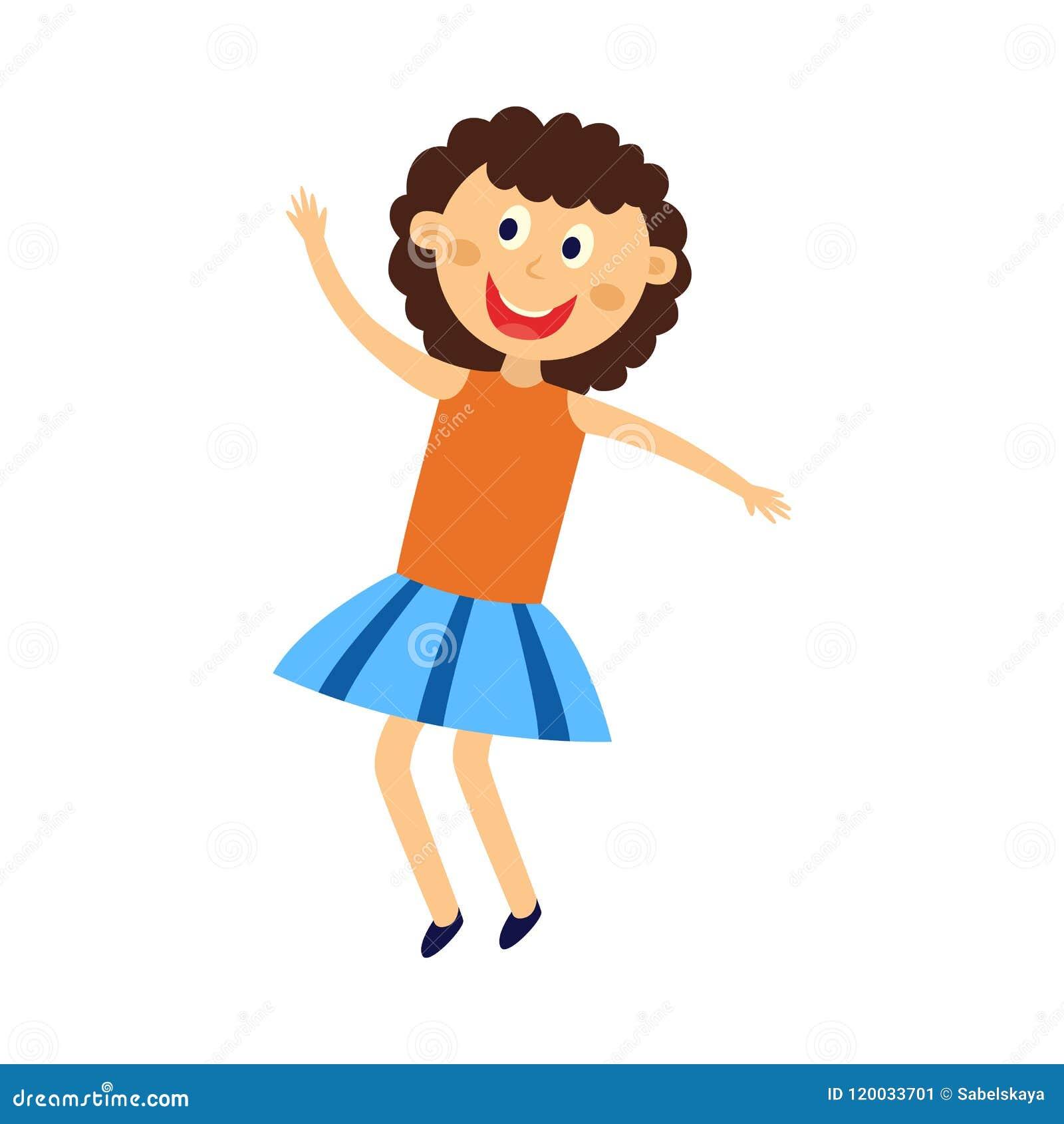 愉快的孩子女孩跳舞,跳跃和获得乐趣-逗人喜爱的平的动画片女性角色图片