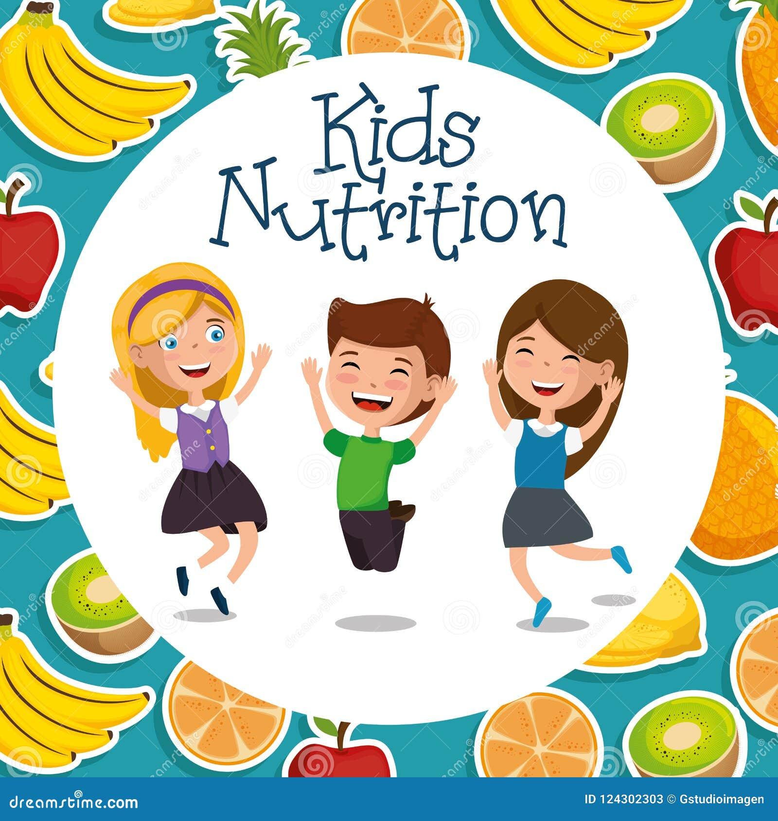 愉快的孩子用营养食物