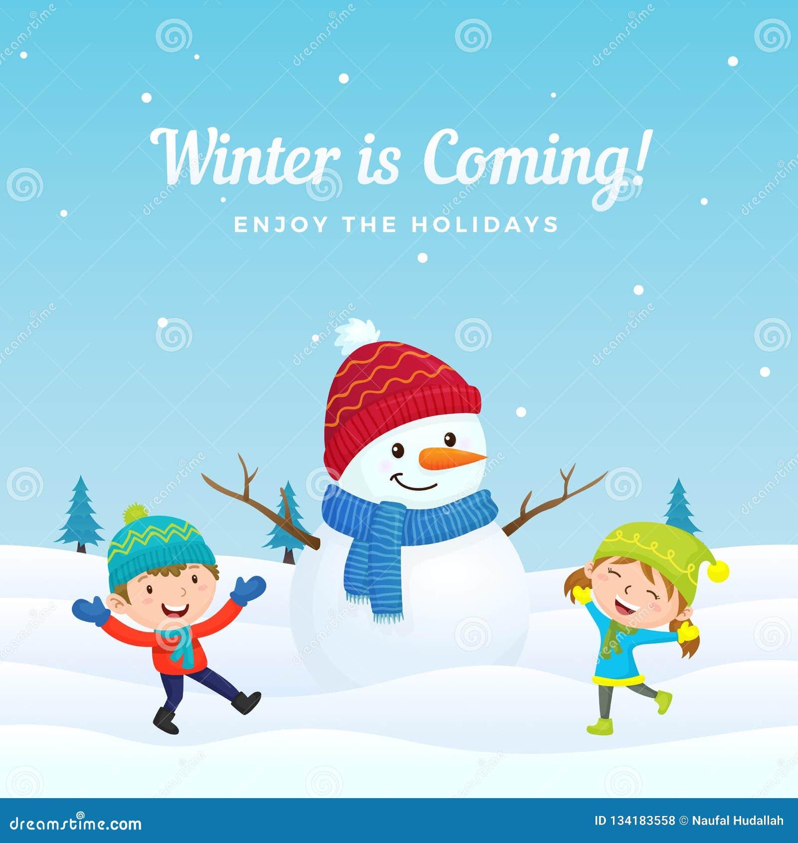 愉快的孩子跳并且喜欢使用与在冬天季节传染媒介背景例证的大逗人喜爱的加工好的雪人