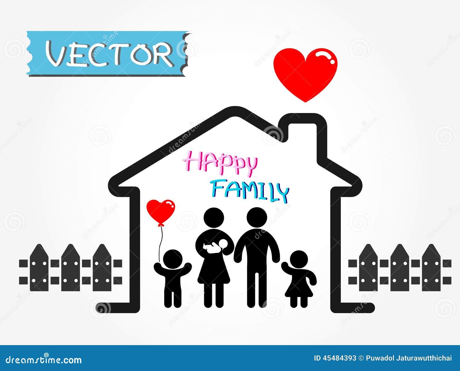 愉快的家庭(父亲、母亲、婴儿、儿子,女儿在愉快的家)