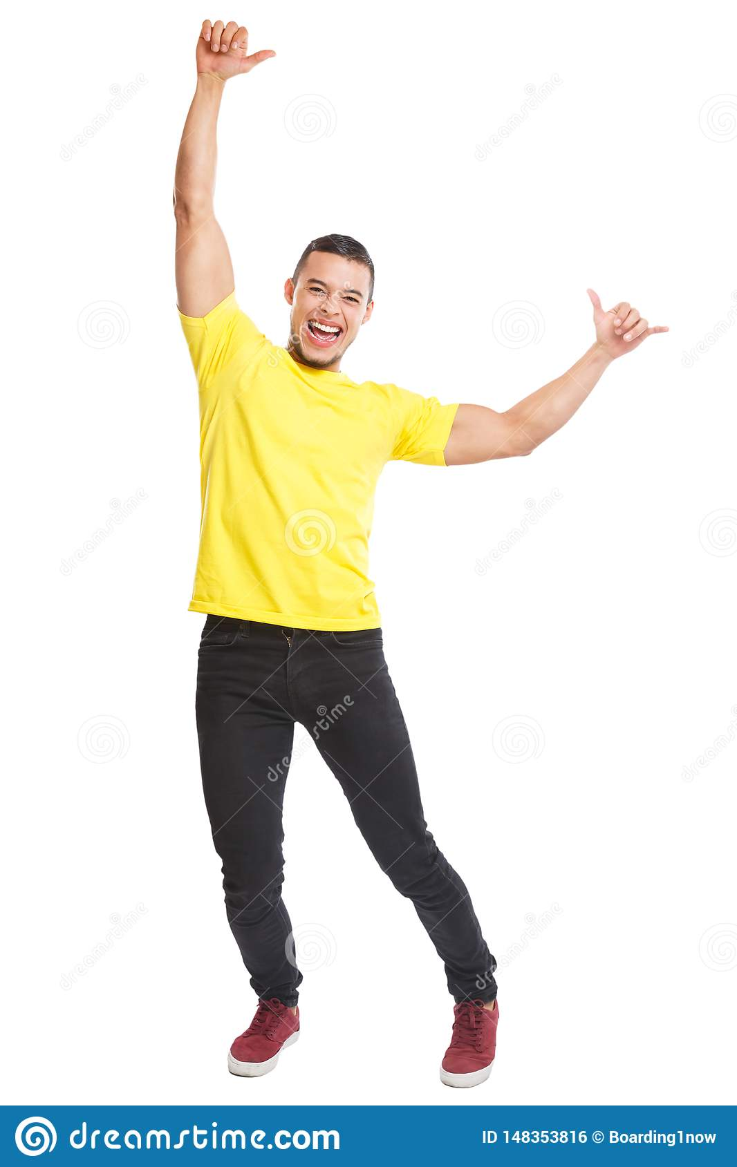 愉快的年轻拉丁在白色隔绝的人成功成功的微笑的充分的身体画象人民