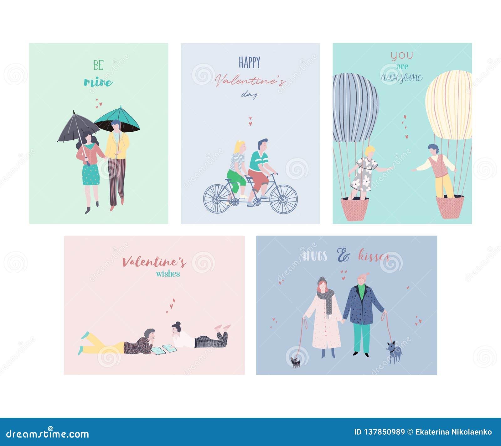 愉快的情人节卡集 爱上印刷术行情的人们 愉快的约会的夫妇 贺卡的设计模板,