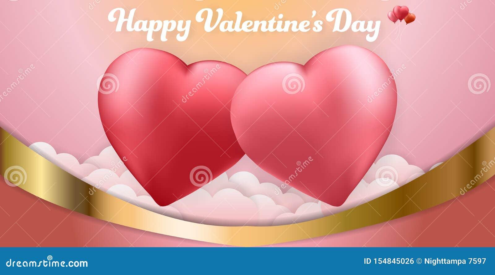 愉快的情人节夫妇心脏气球背景横幅集合卡片 墙纸,邀请,海报,小册子