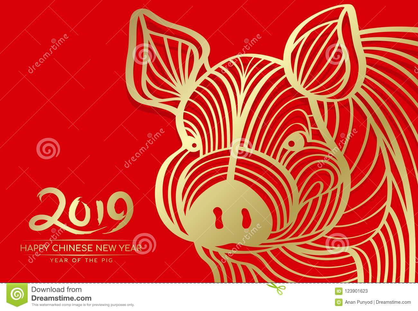 愉快的春节2019年和年与金头猪摘要线的猪卡片在红色背景传染媒介设计