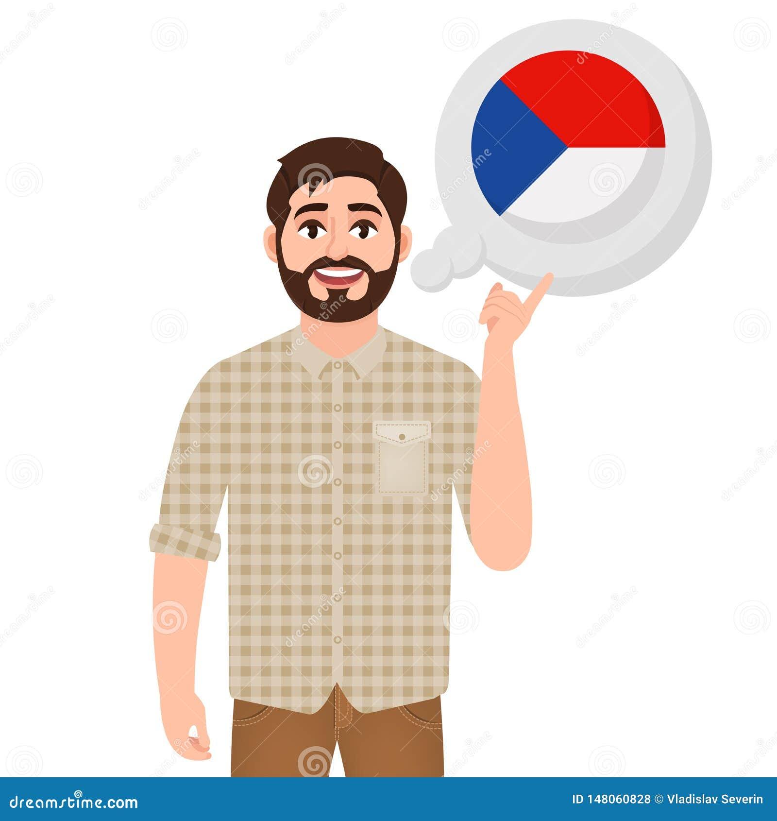 愉快的有胡子的人说或考虑国家捷克,欧洲国家象、旅客或者游人