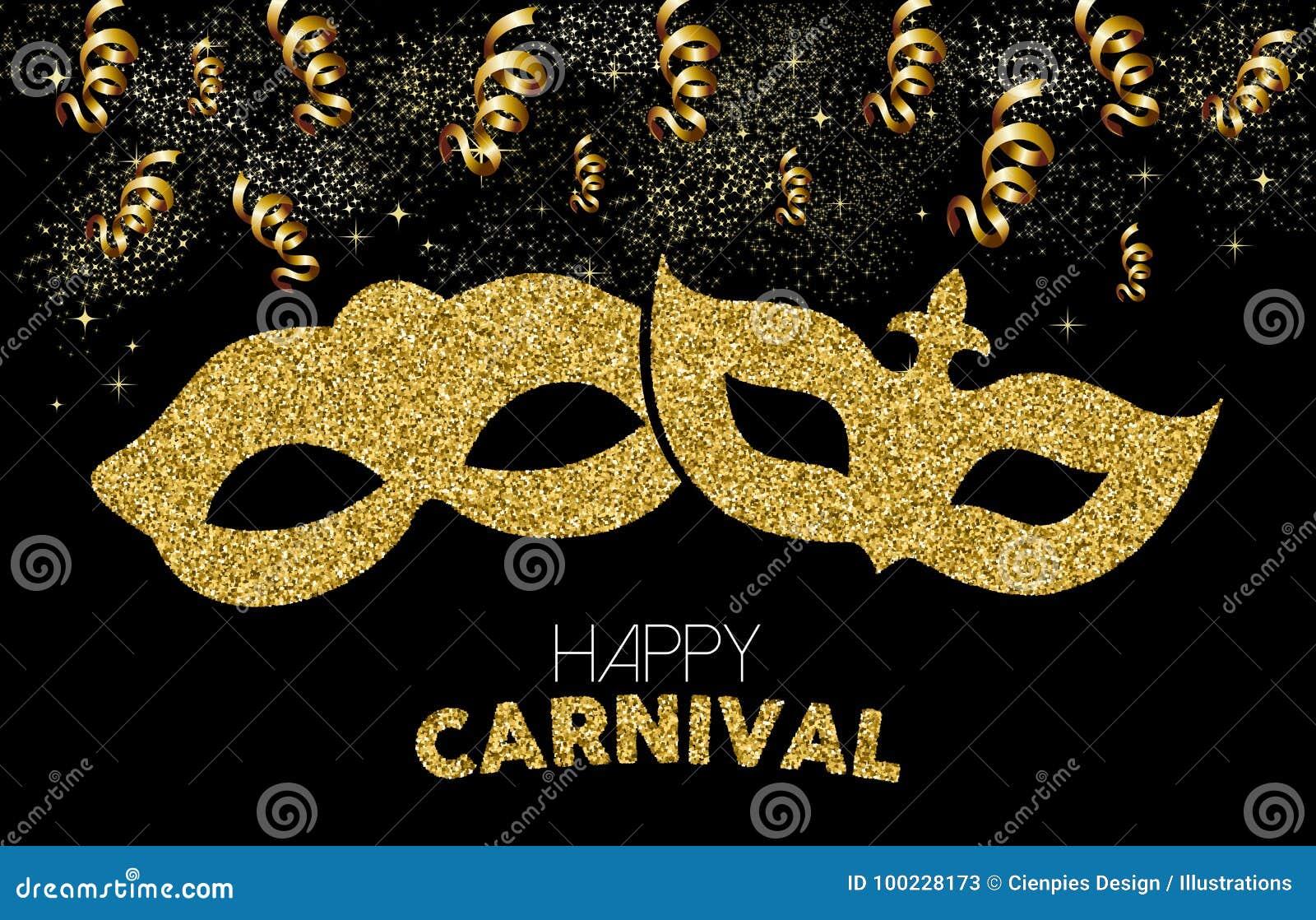 愉快的狂欢节金子闪烁面具服装设计