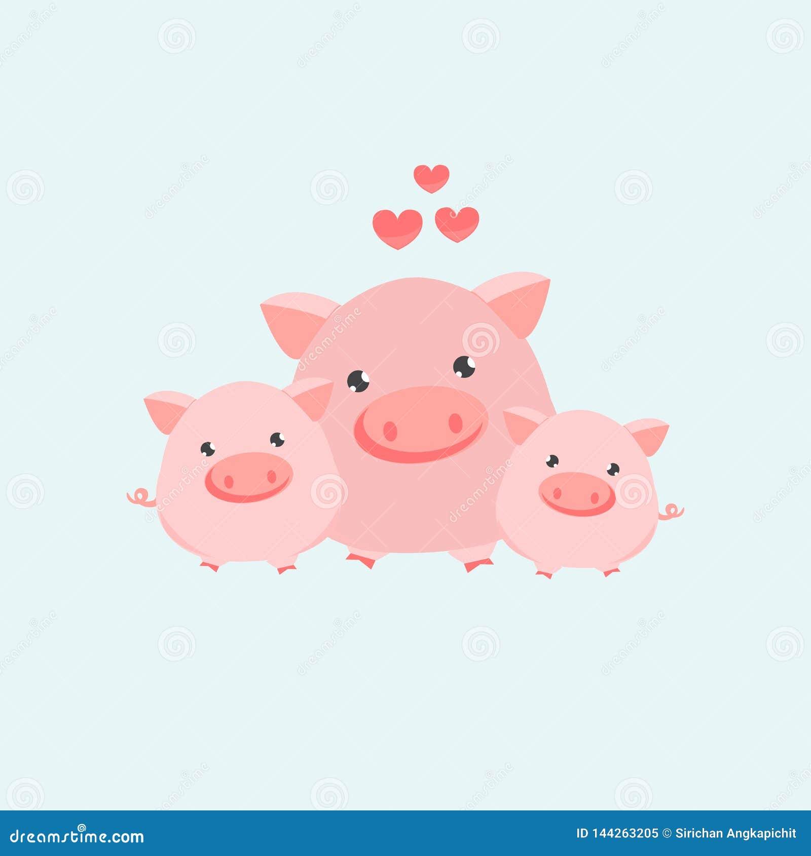 愉快的猪家庭 也corel凹道例证向量