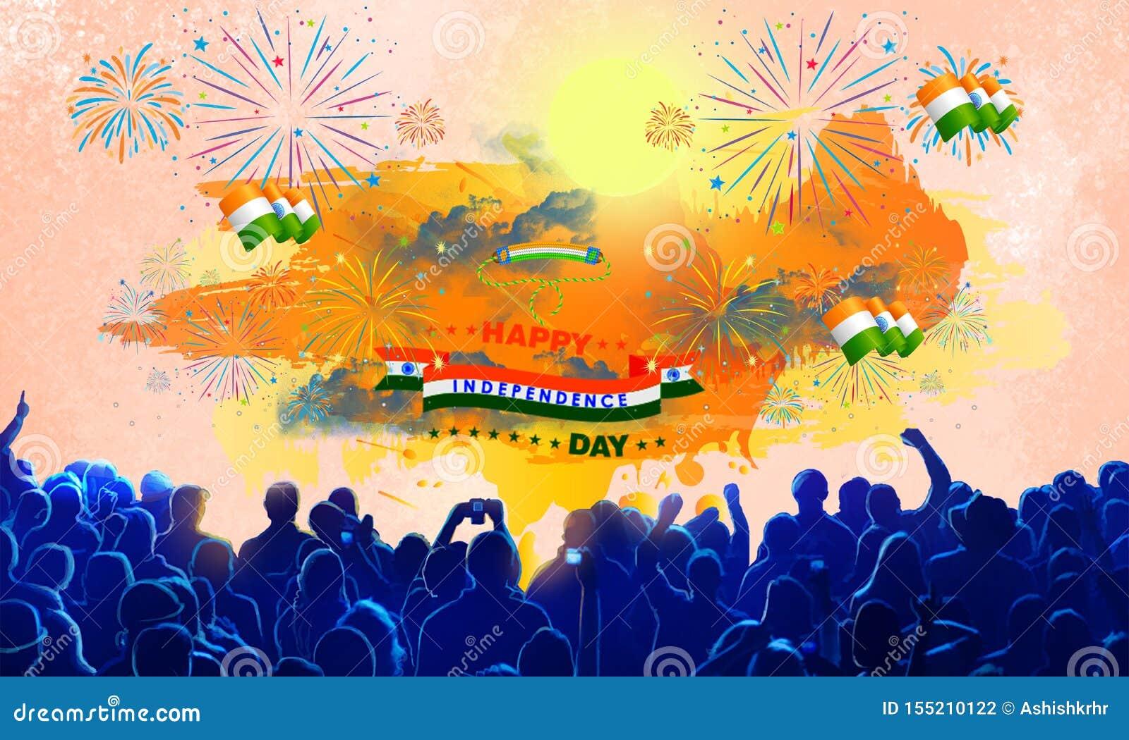 愉快的第73独立日的庆祝与烟花的