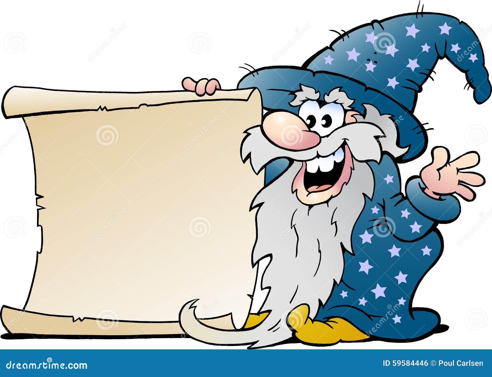 愉快的老有纸卷的巫术师不可思议的人