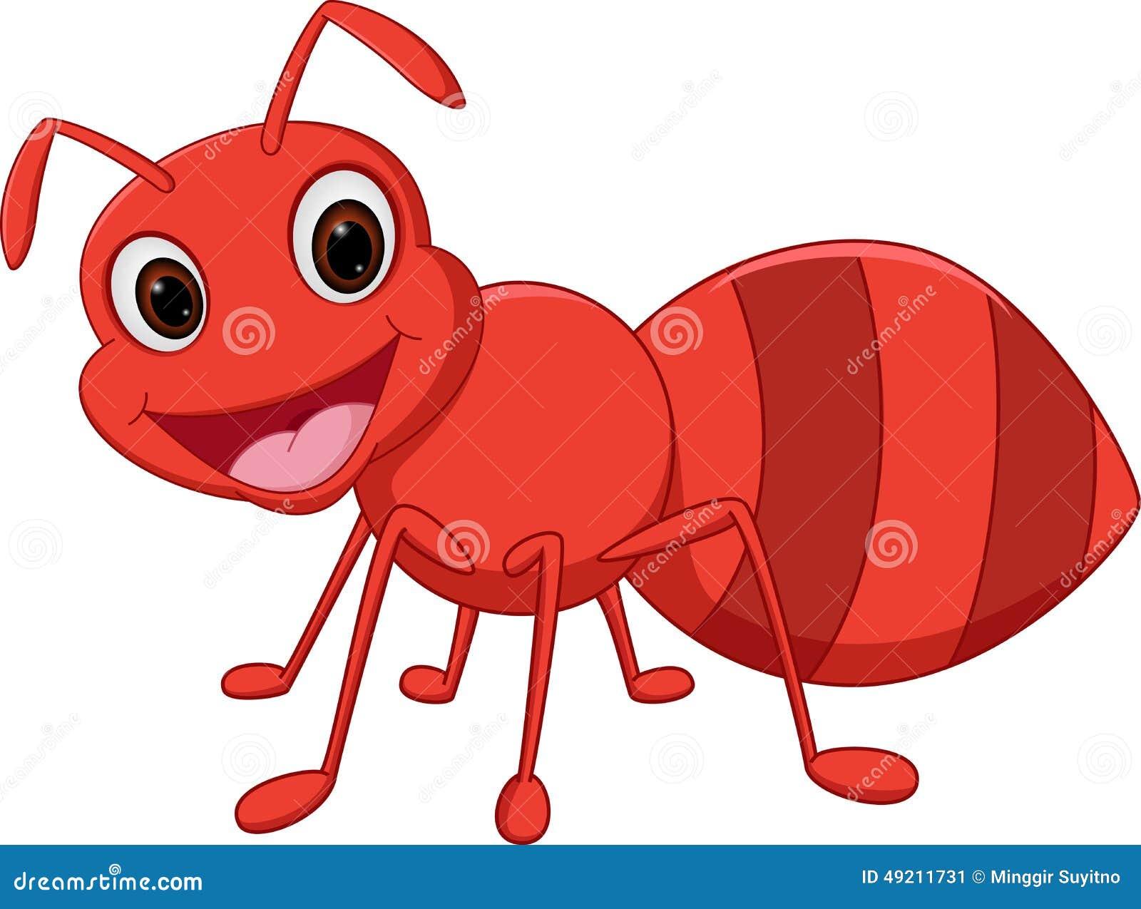 在白色隔绝的愉快的蚂蚁动画片的例证.图片