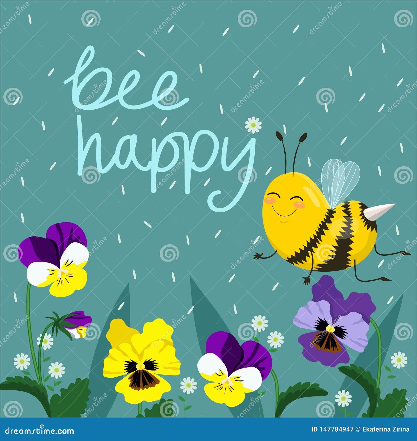 愉快的蜂传染媒介例证 手在与蜂的文本上写字 传染媒介明信片
