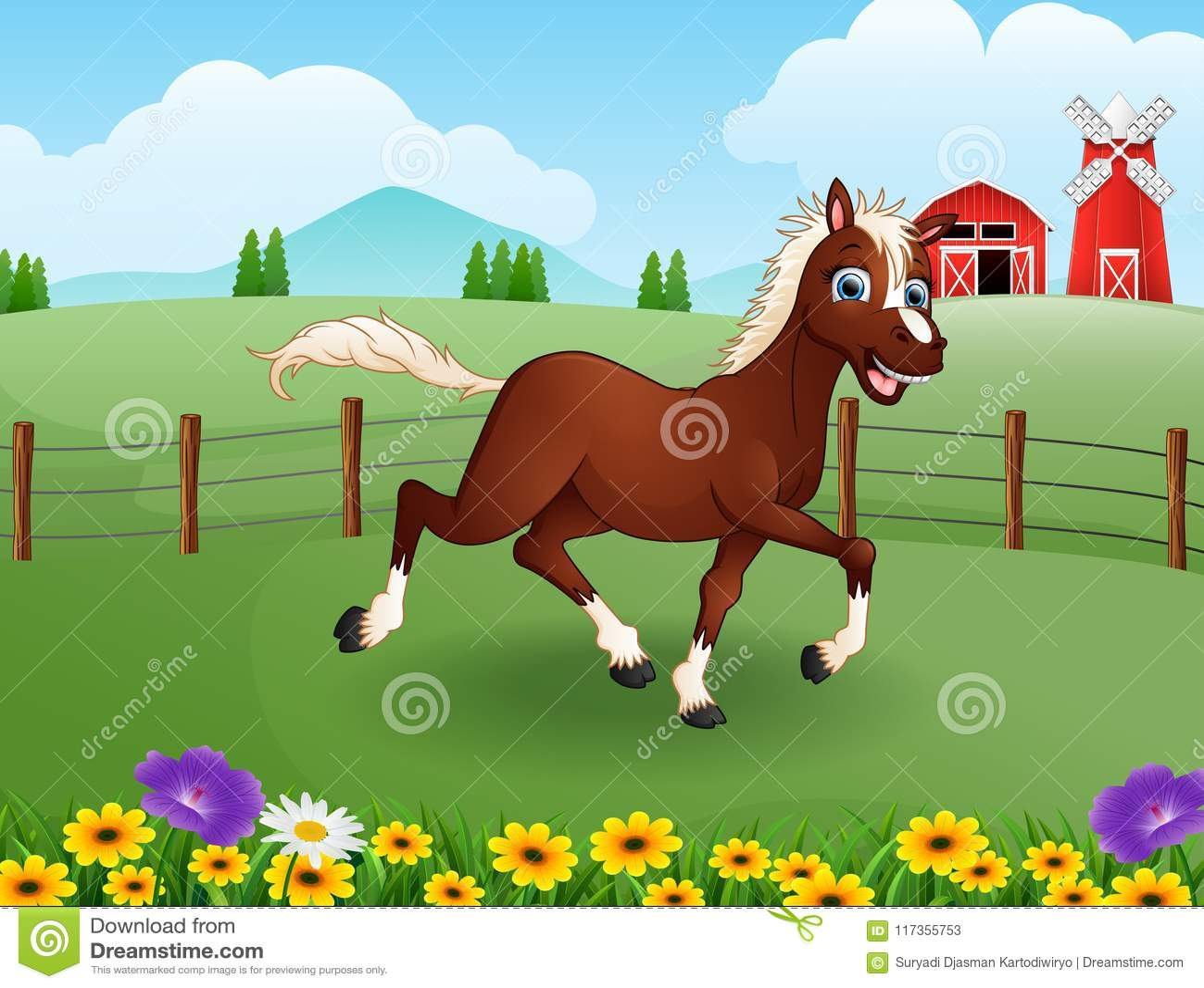 愉快的马动画片在有绿色领域的农场