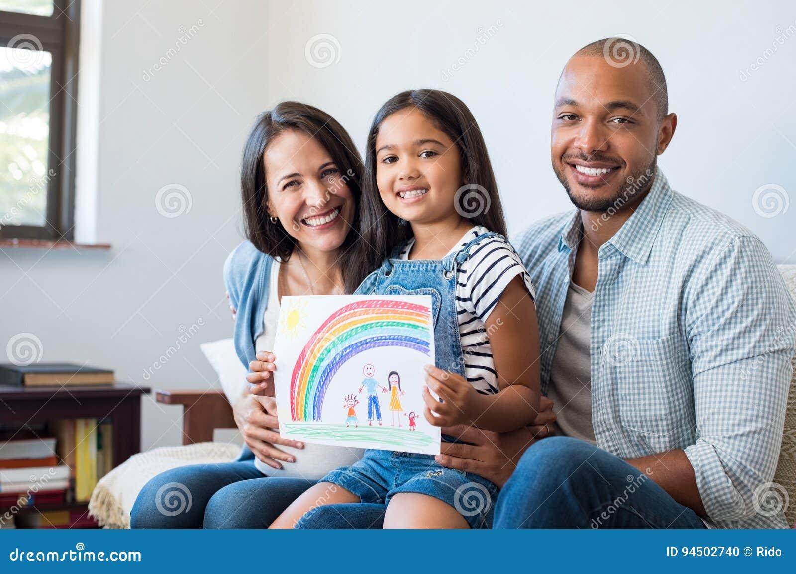 愉快的multiethic家庭