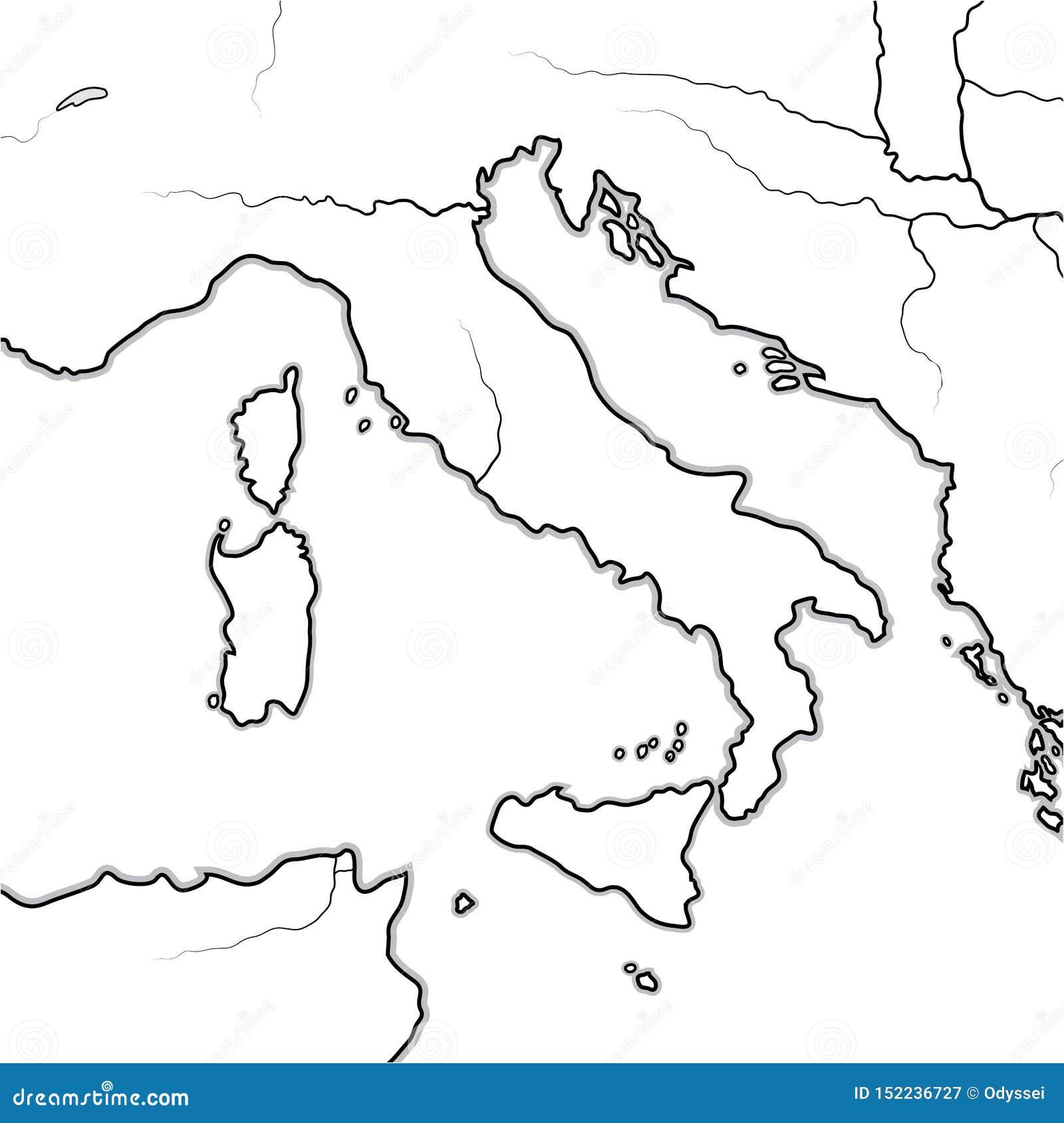意大利土地的地图:意大利,托斯卡纳,伦巴第,西西里岛,亚平宁山脉,亚平宁半岛 地理图