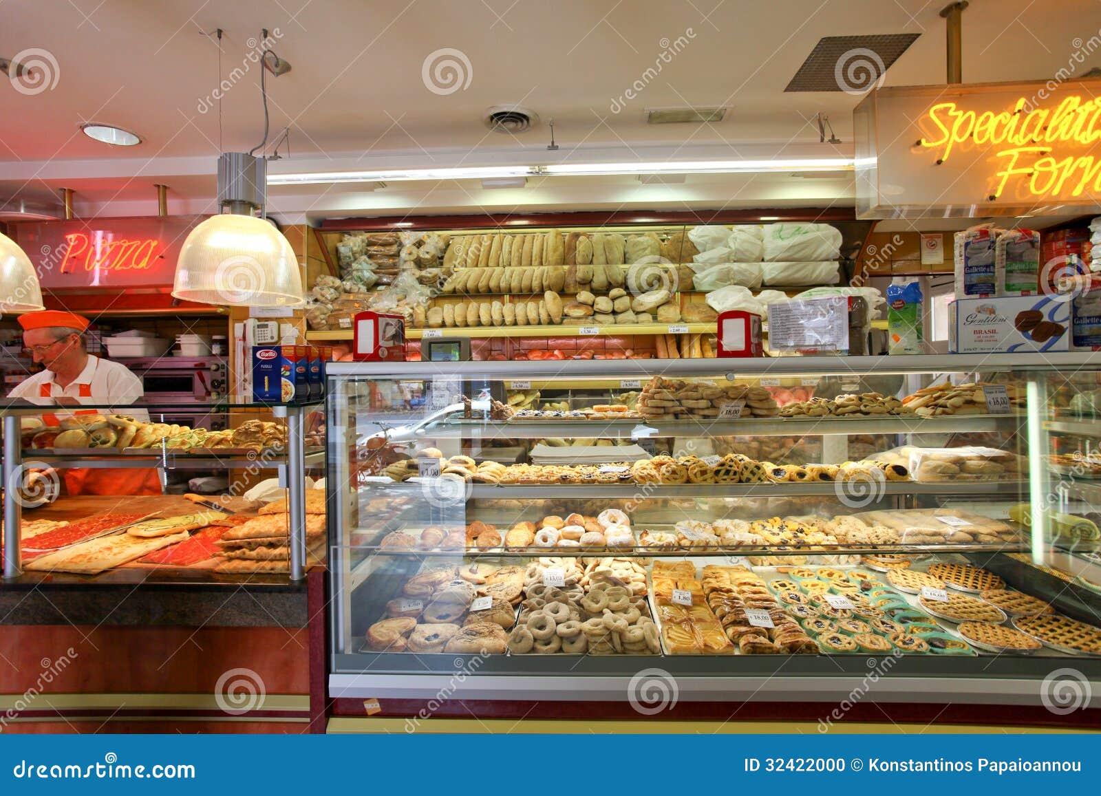 意大利面包店商店