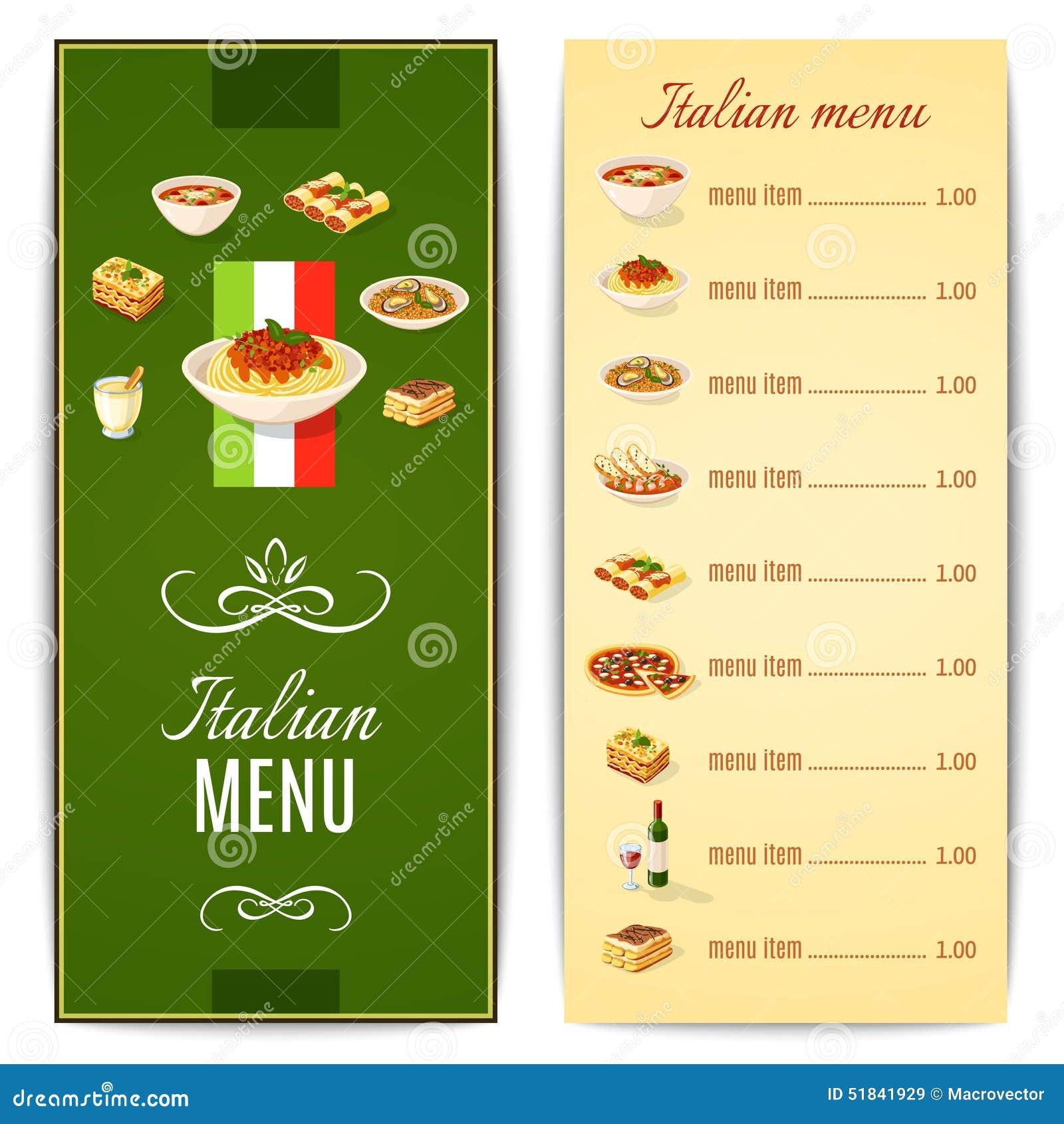 意大利食物菜单